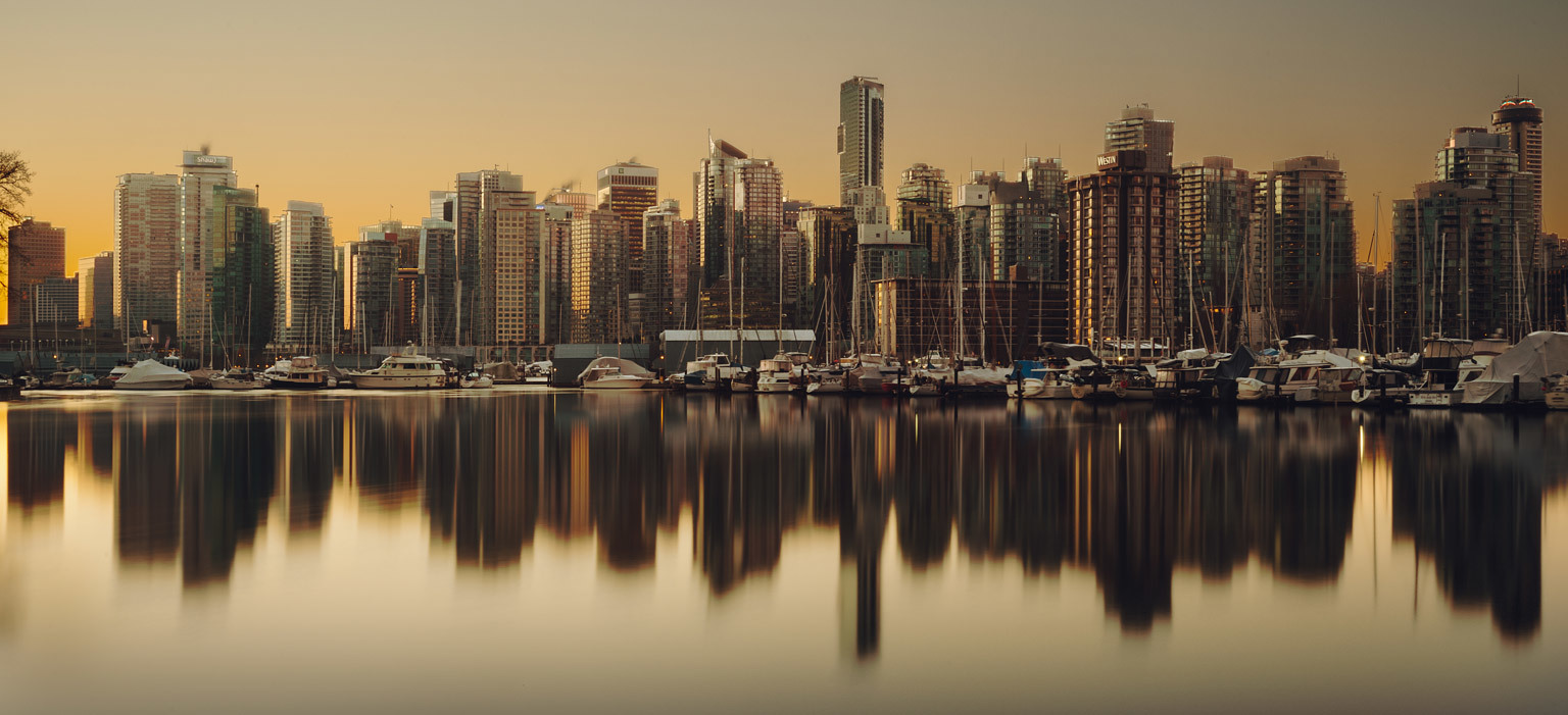 Vancouver city skyline from the seawall of Stanley Park.