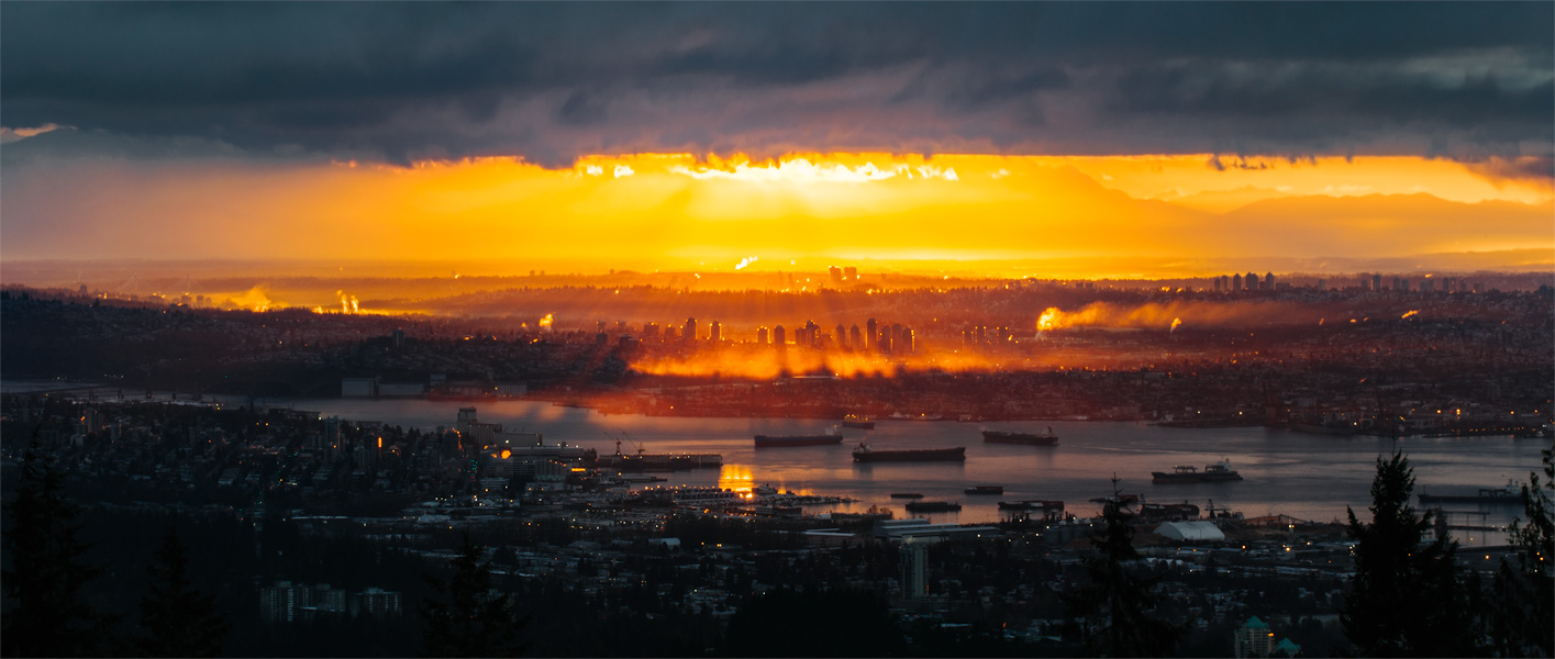 Sunrise over Burnaby, B.C. from Cypress Mountain Lookout.