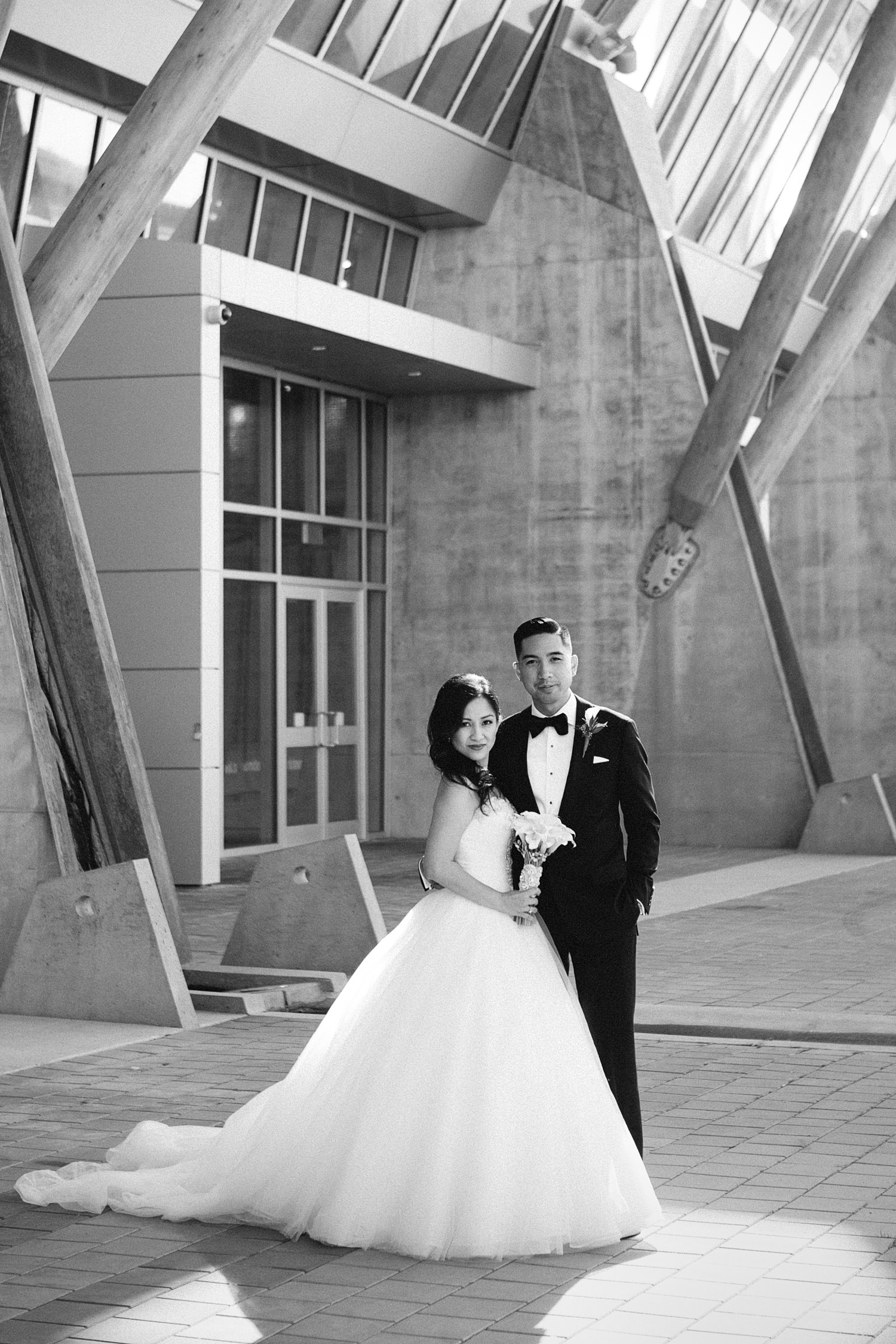 richmond olympic oval wedding photography black and white