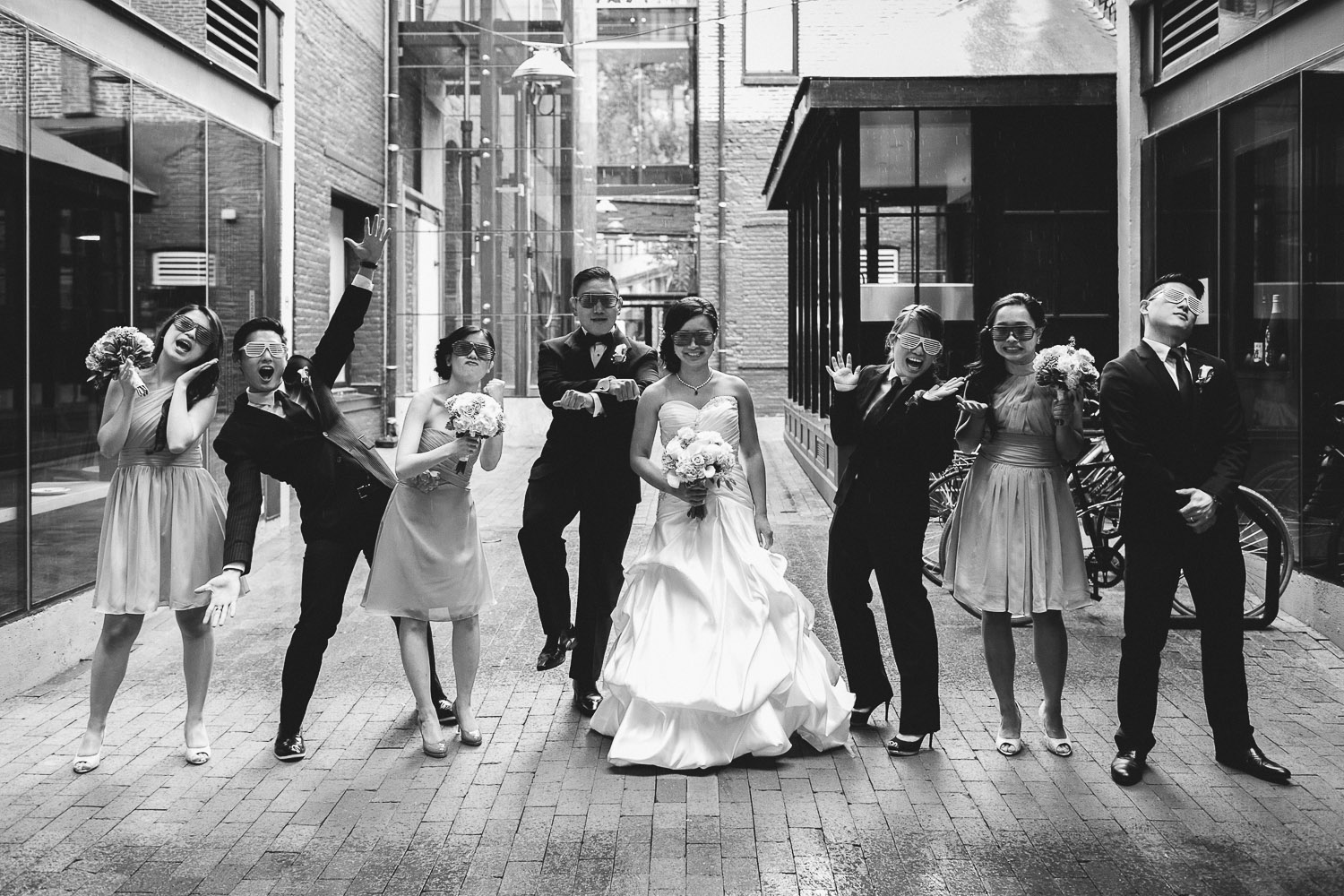 vancouver rain wedding photography gastown bridal party