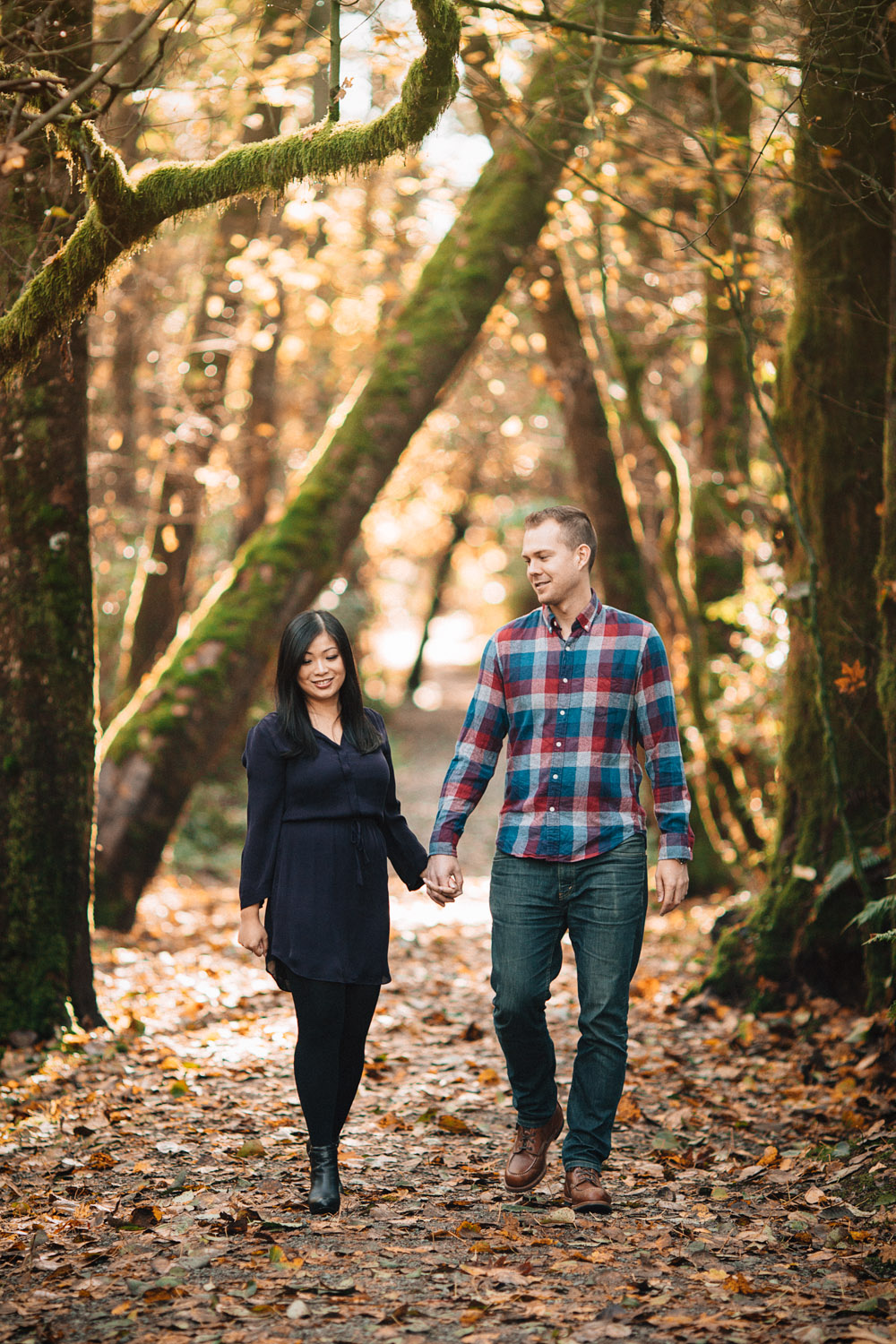 pacific spirit regional park hike fall engagement photography in vancouver ubc