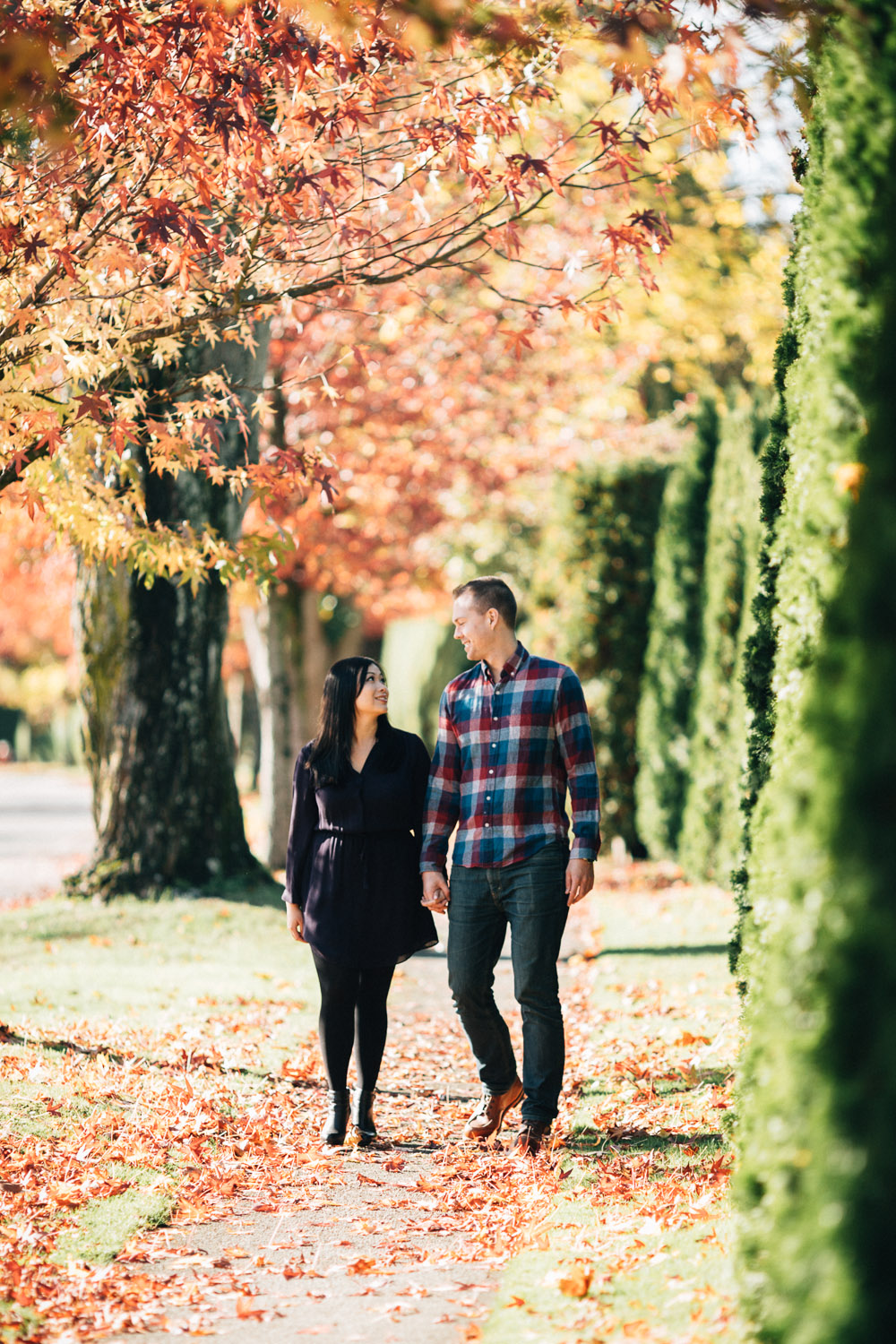 walking at ubc fall engagement photography vancouver