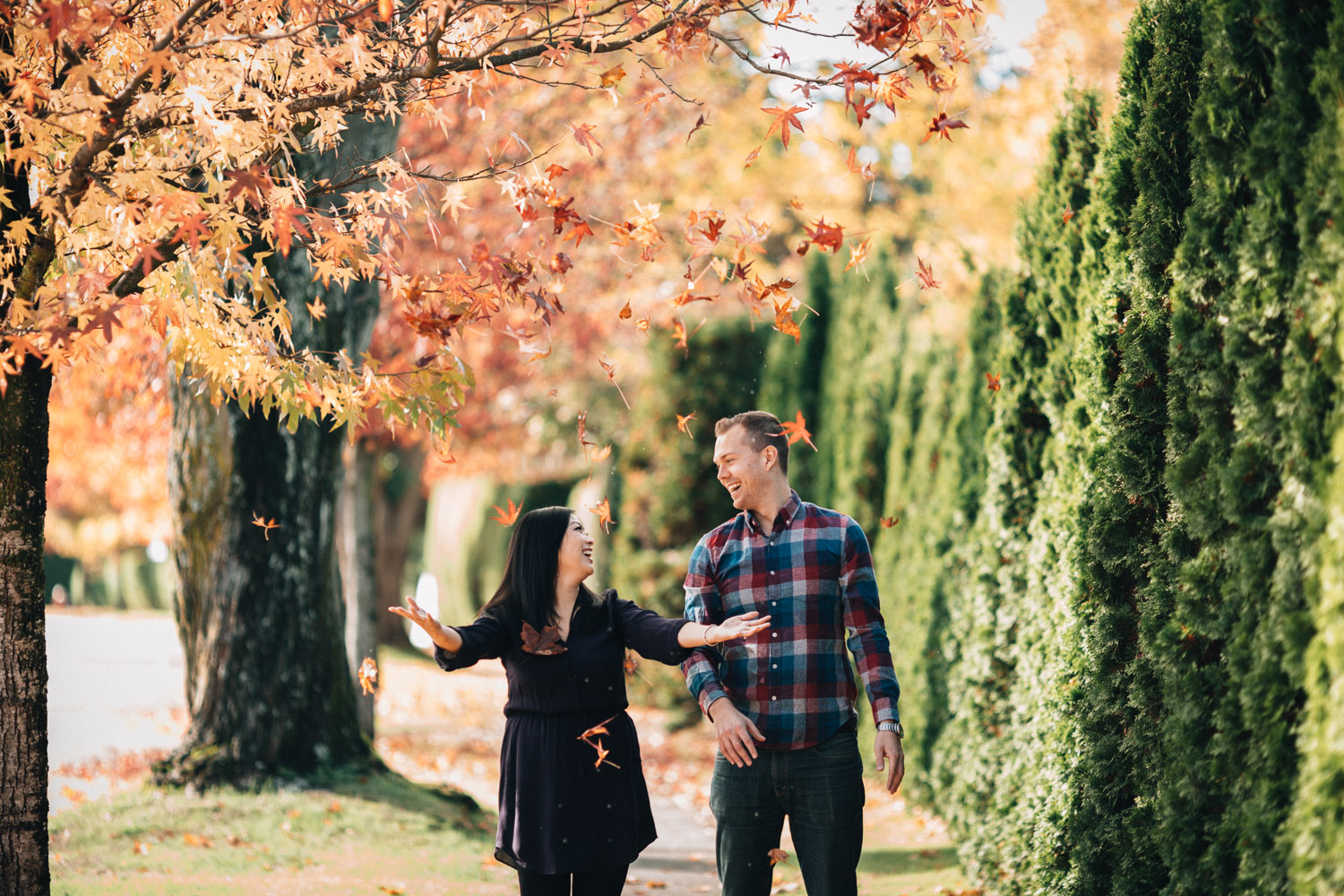 candid fall engagement photography portrait ubc vancouver