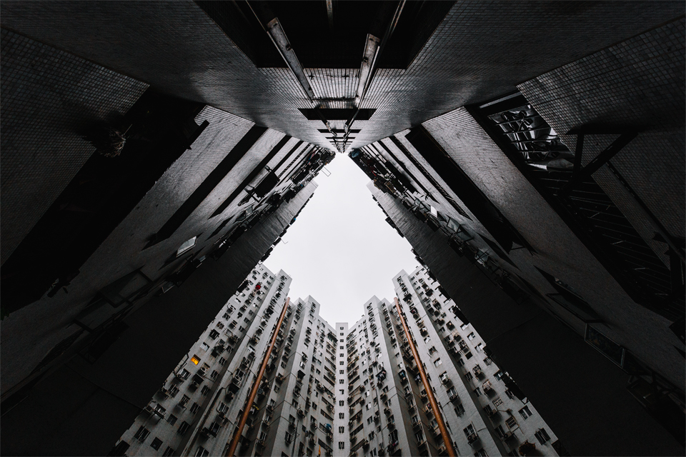 Macau architecture photography looking up residensity