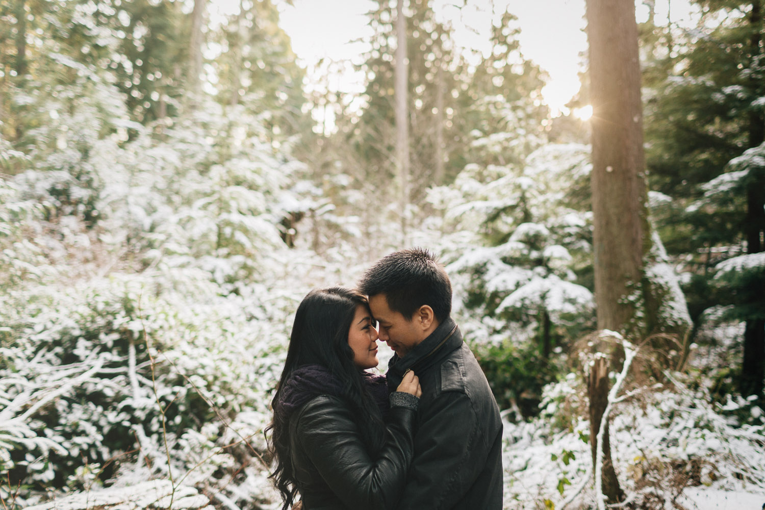 winter engagement photography in vancouver at beaver lake trail