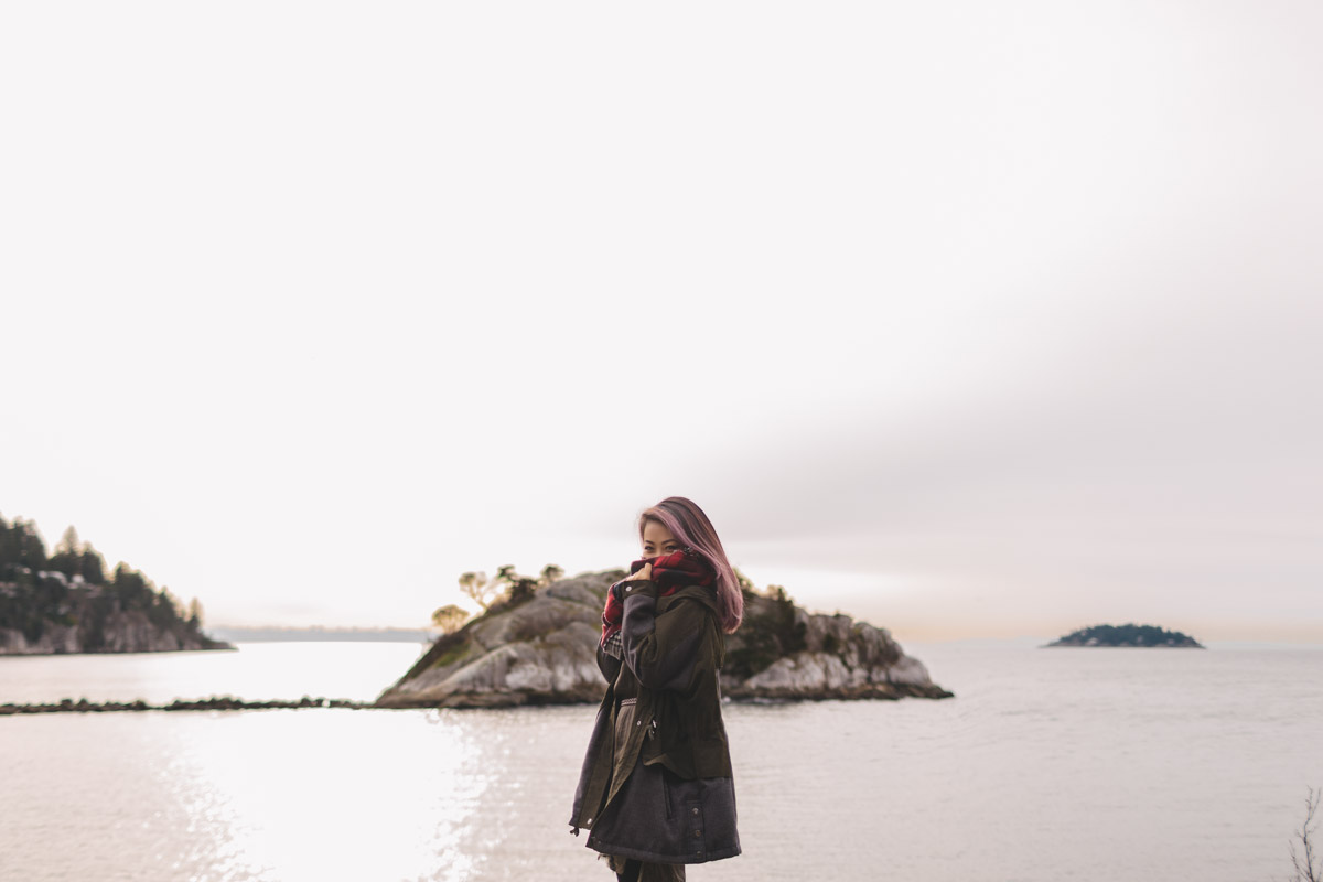 winter vancouver portrait photography at whytecliff park with Tien Nguyen