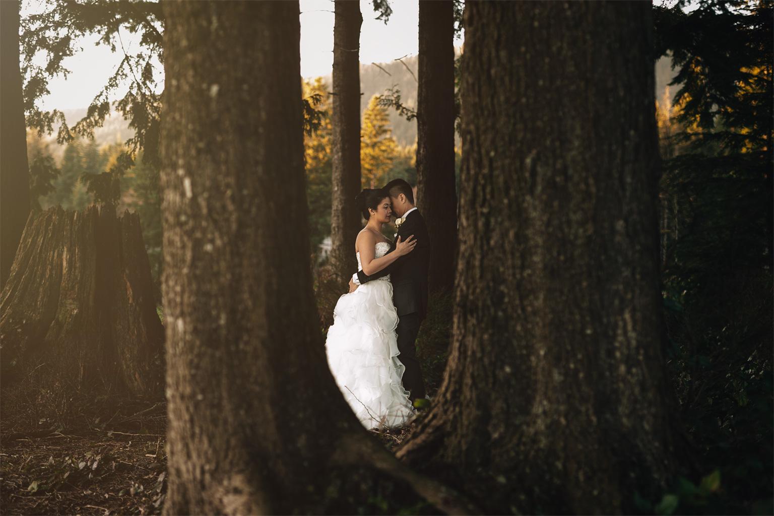 bride and groom portrait westwood plateau wedding photography