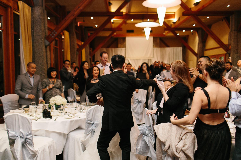 bride and groom entrance into reception  westwood plateau wedding photographer