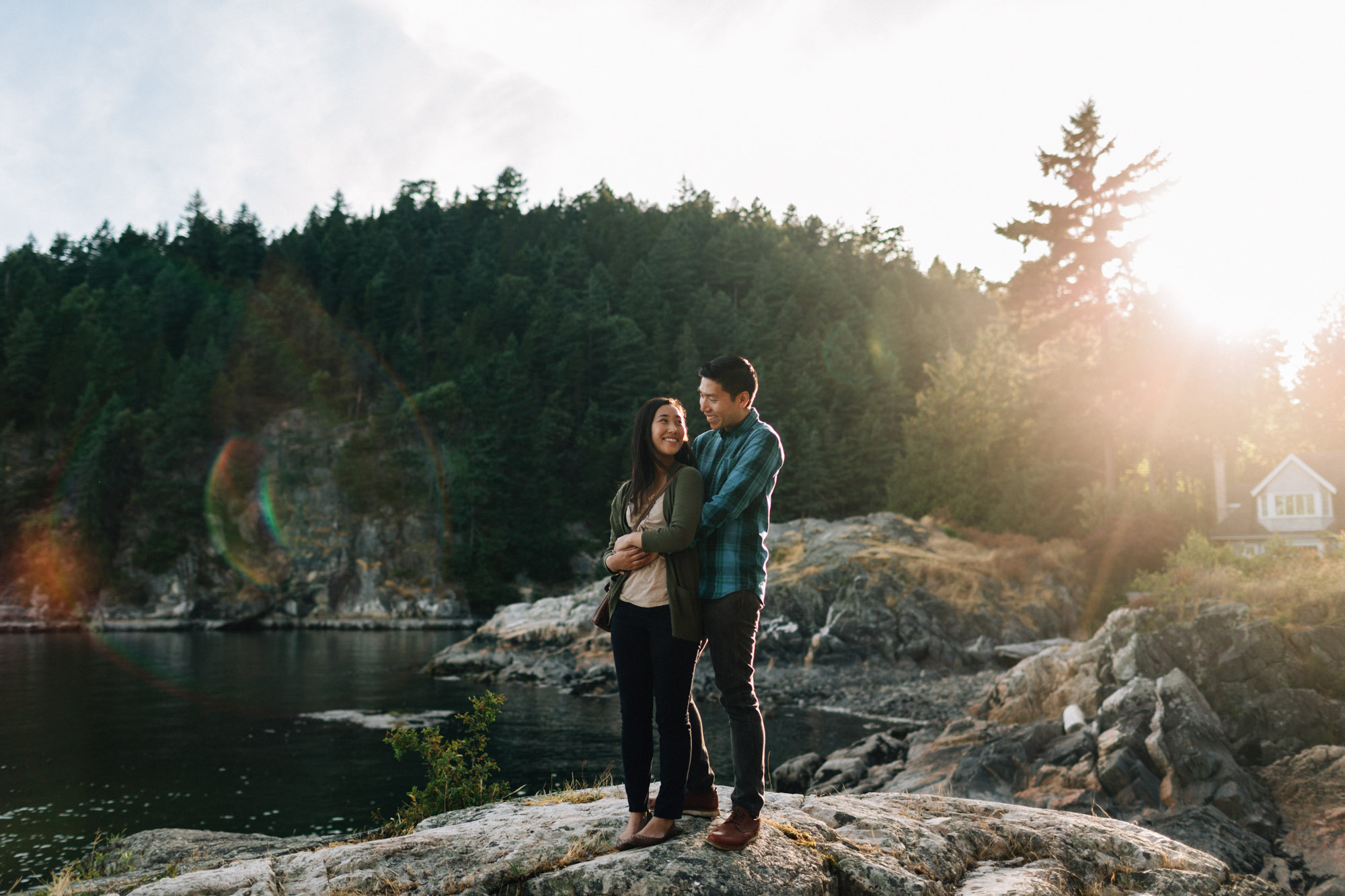 west vancouver sunset engagement photography at caulfield park with mytyl and vincent