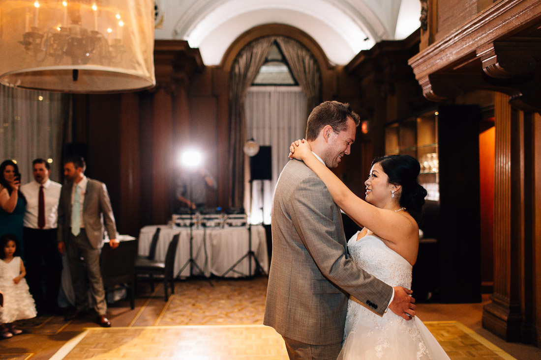 bride and groom first dance at the vancouver club wedding photographer