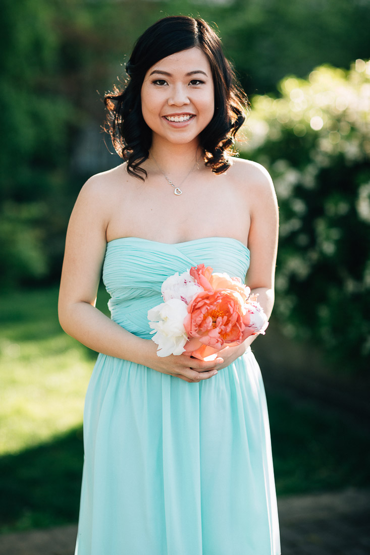 vancouver wedding photography bridesmaid in coal harbour green park