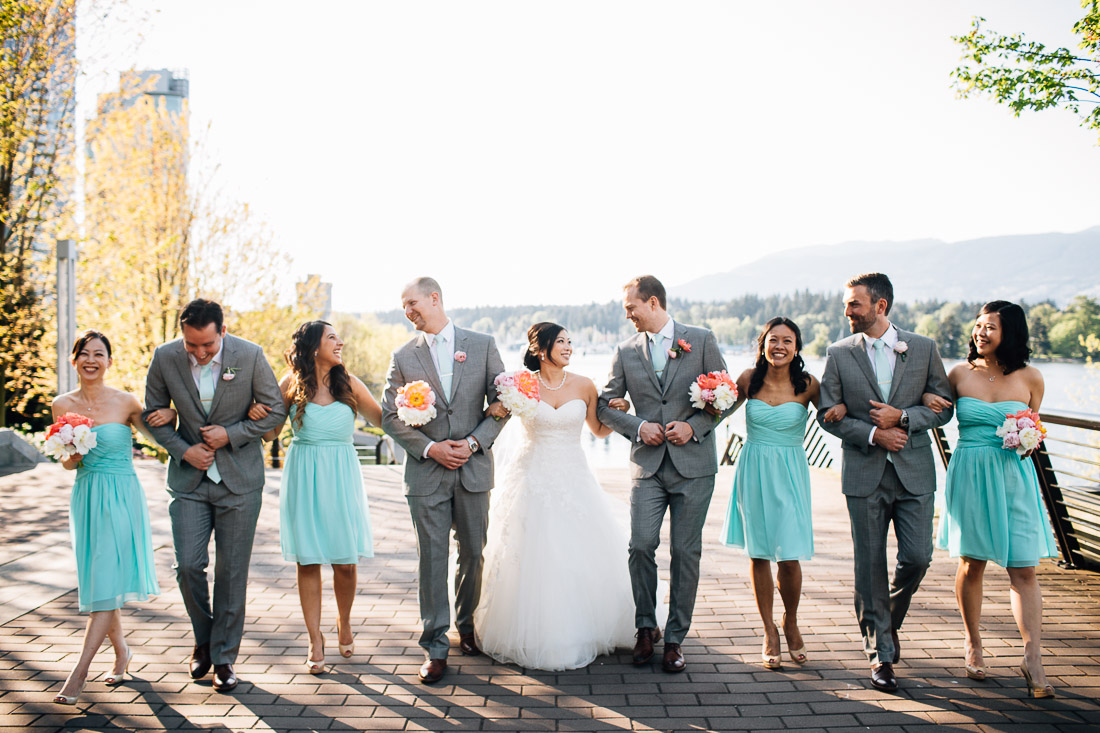 vancouver wedding photography bridal party walking candid