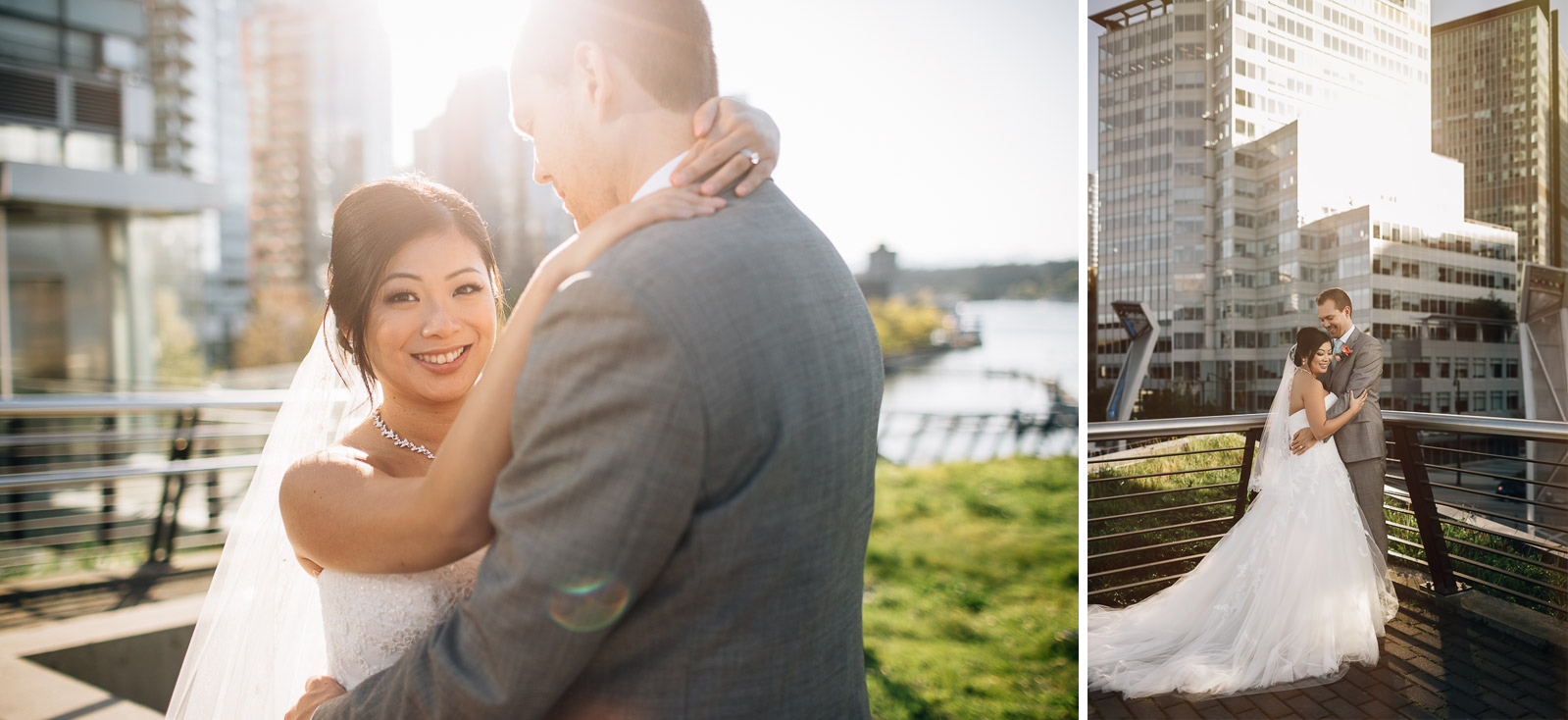 bride and groom portrait vancouver coal harbour wedding photography