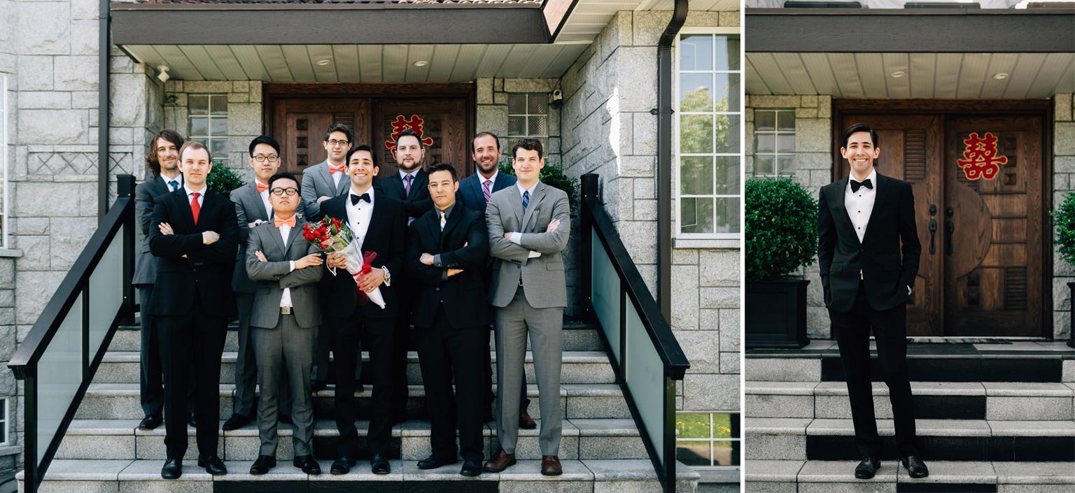 groomsmen and groom door games portrait in vancouver wedding photography