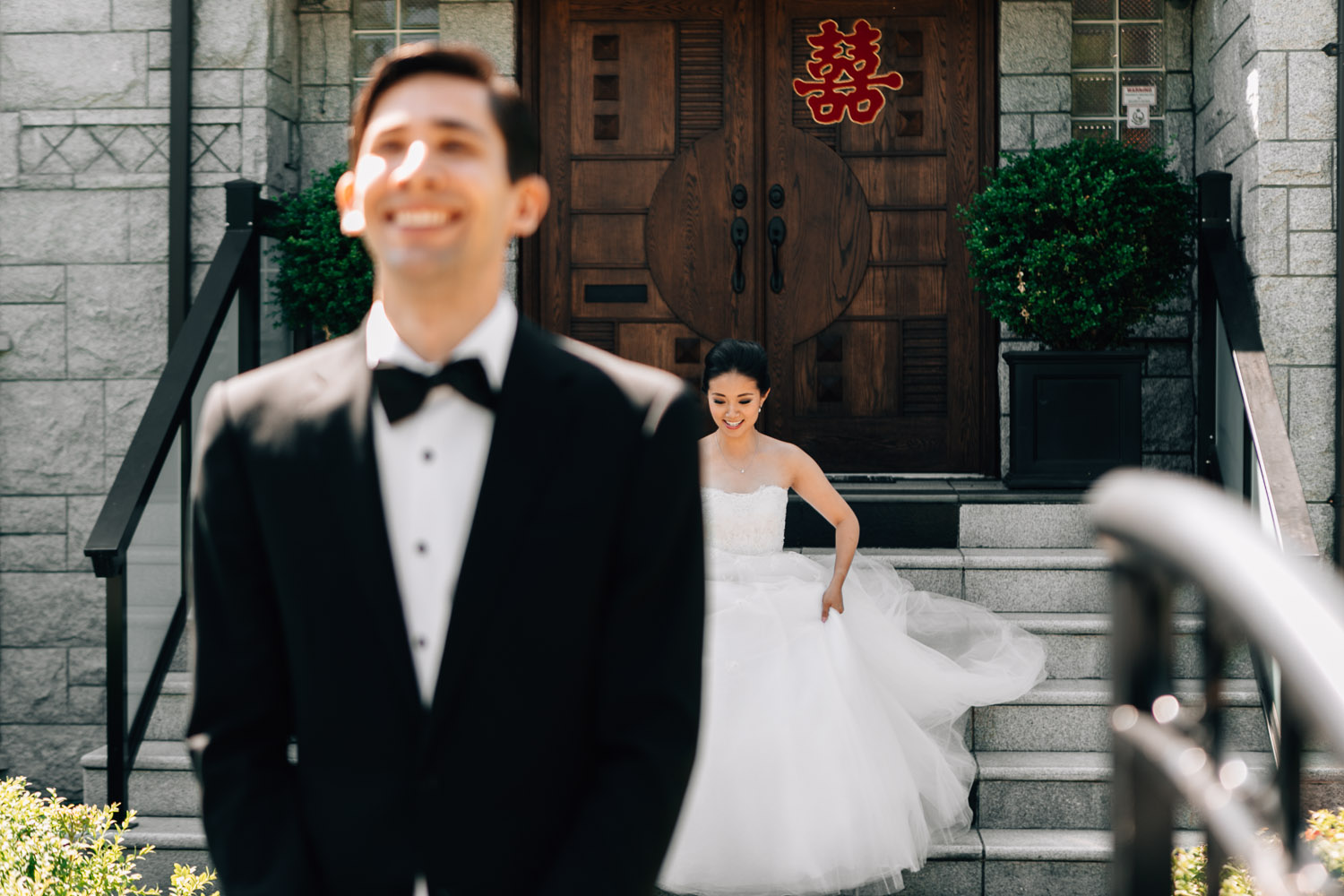 vancouver wedding photography first look bride and groom