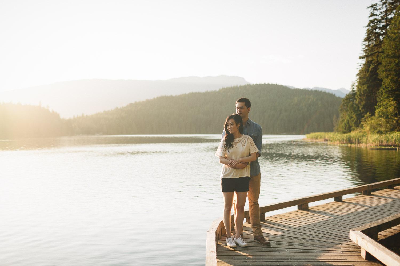engagement summer sunset couple at sasamat lake photography