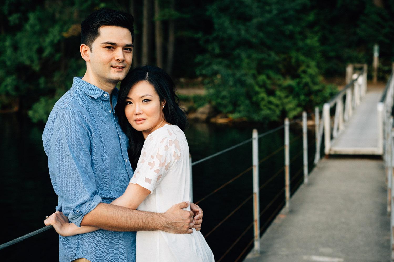 engaged couple portrait at sasamat lake port moody
