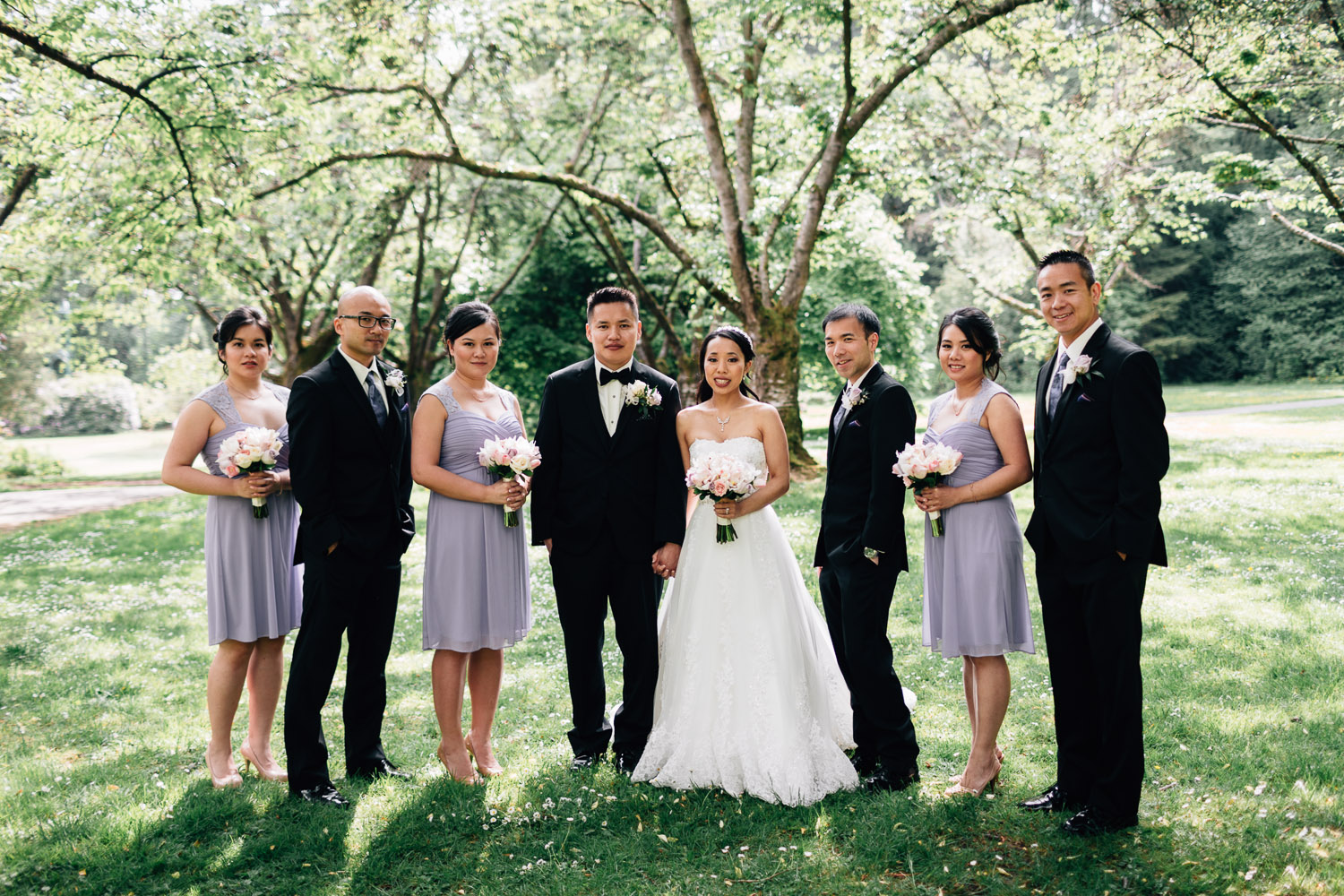 bridal party photography in stanley park vancouver