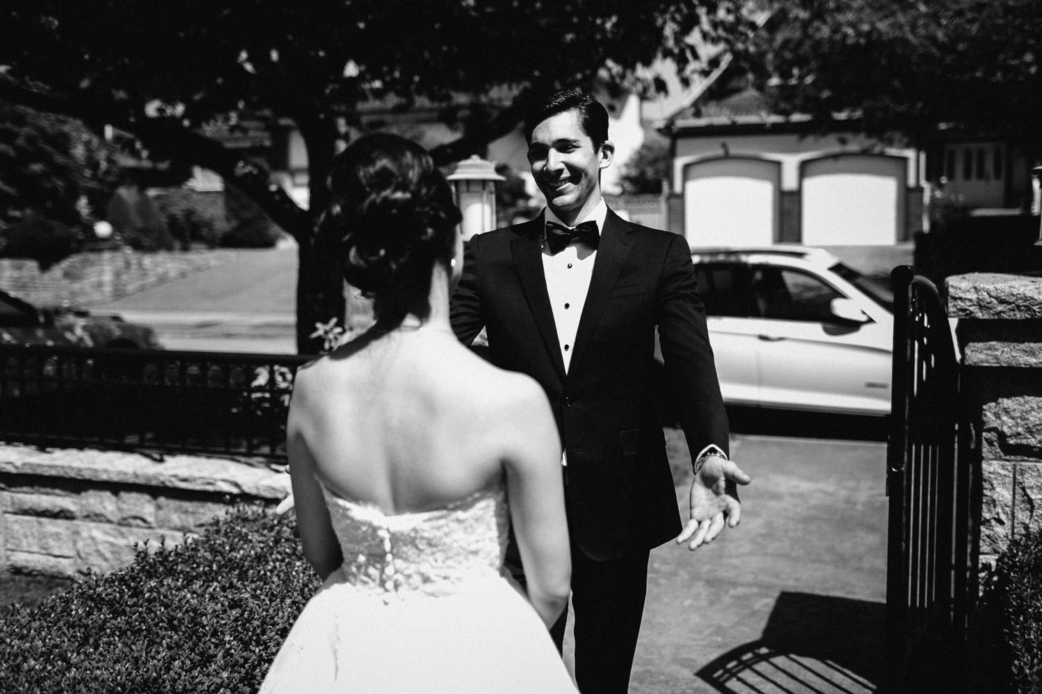 vancouver wedding photographer first look black and white