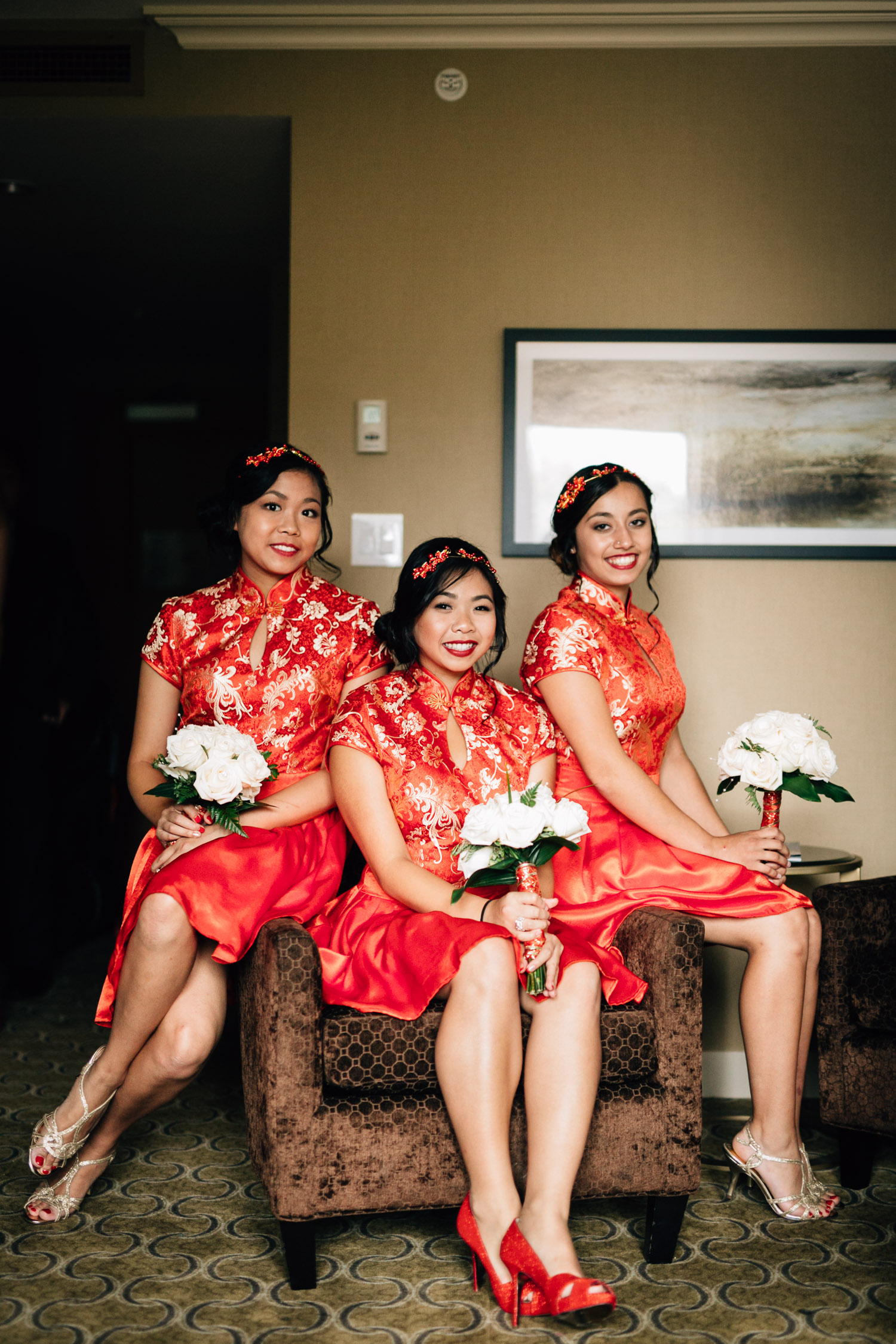 bridesmaids in chinese traditional outfit richmond wedding photograph river rock