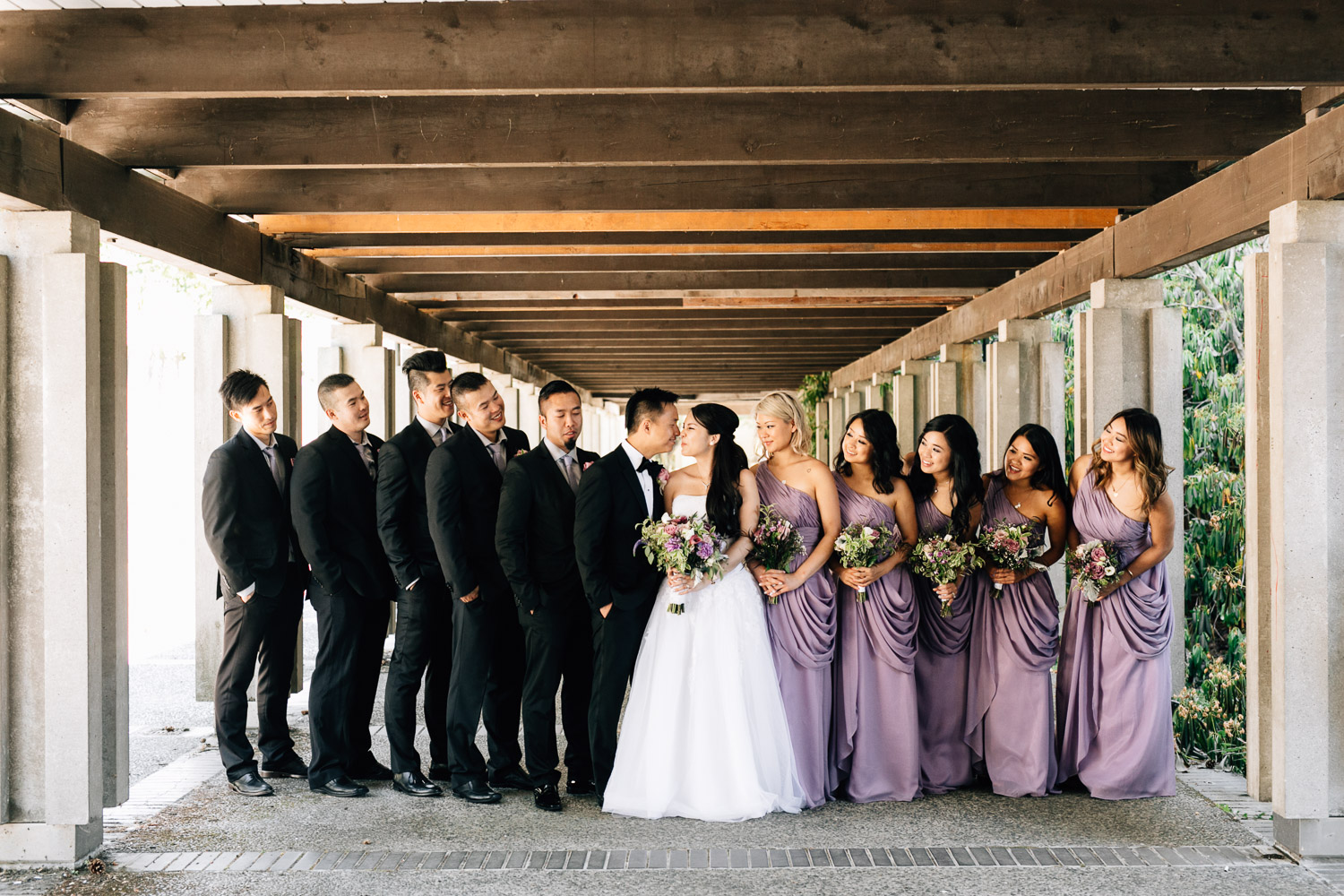 wedding bridal party at UBC vancouver