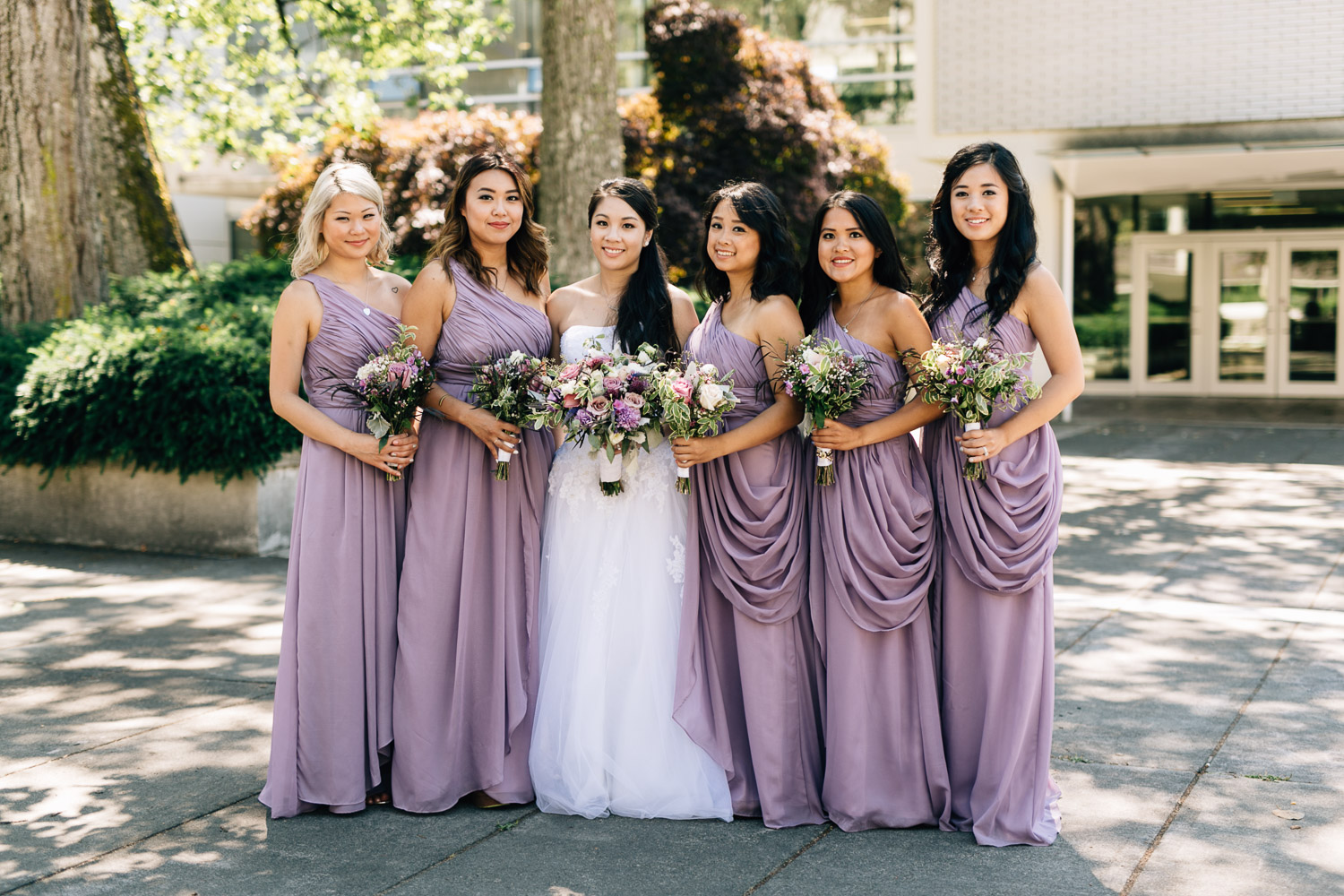 bride and bridesmaids ubc vancouver wedding photography