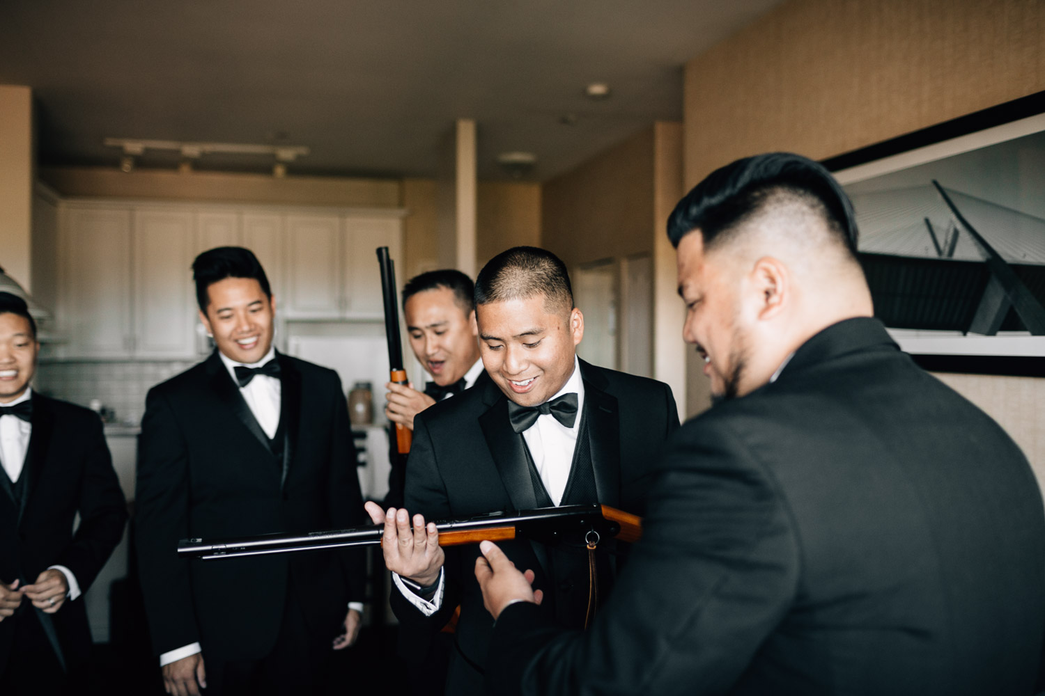 groomsmen gifts gun engraved surrey wedding photography