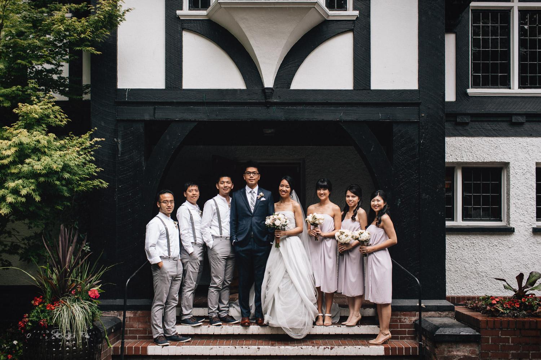 bridal party at brockhouse restaurant wedding photography