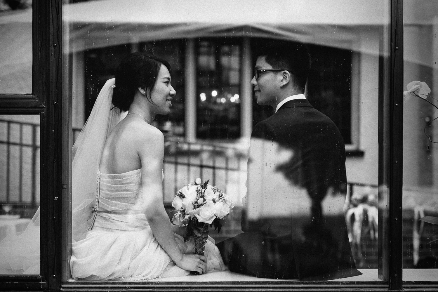 black and white wedding photography in vancouver bc at brockhouse restaurant