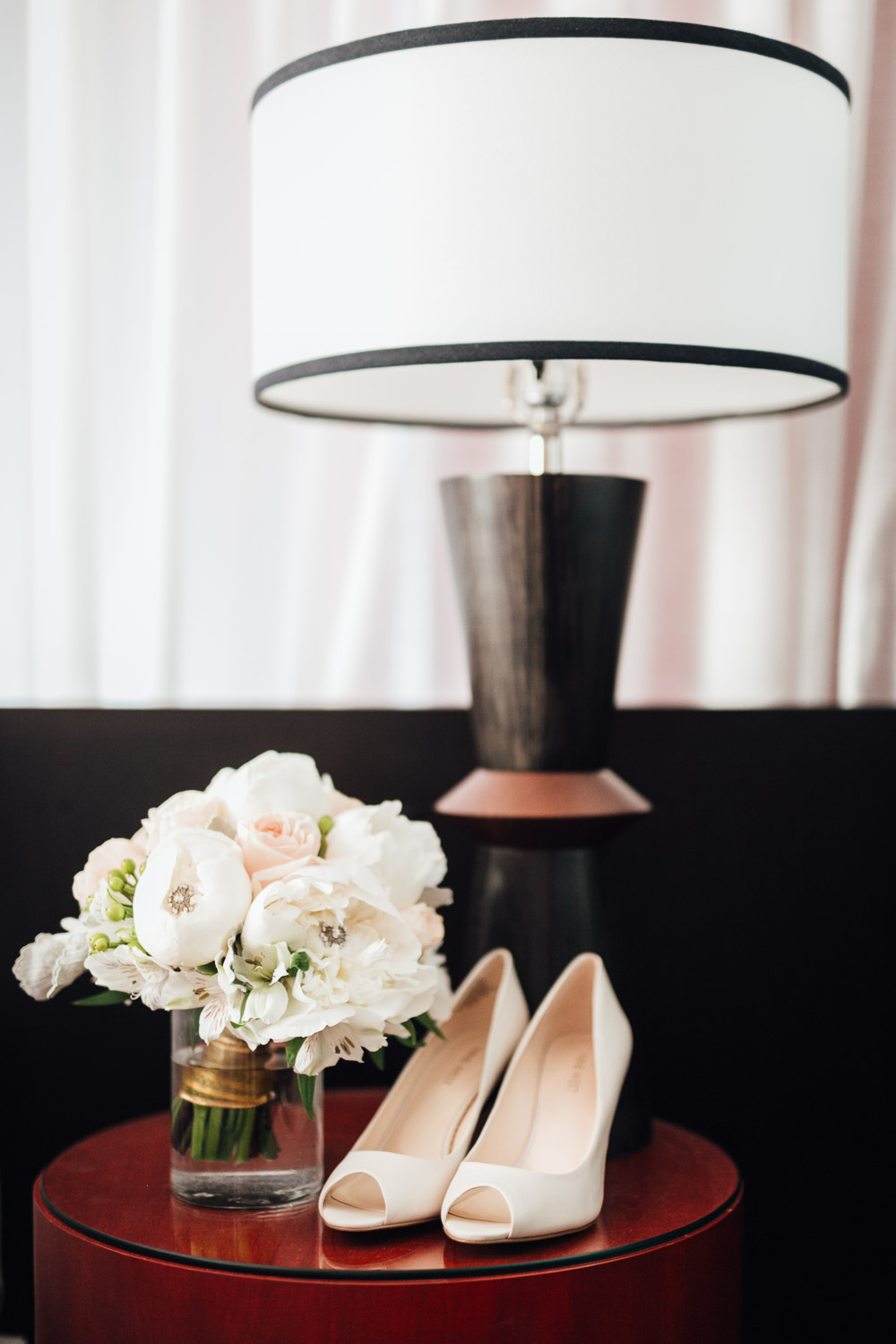 bride's bouquet and shoes getting ready in yaletown vancouver bc wedding