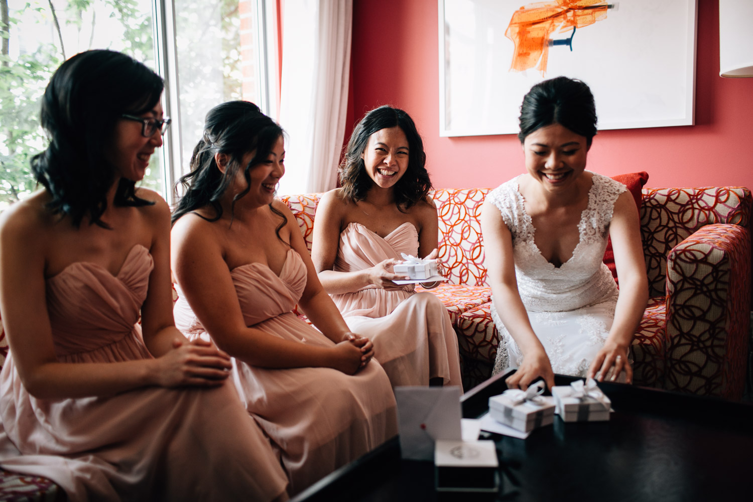 bride and bridesmaids at opus hotel in yaletown vancouver bc