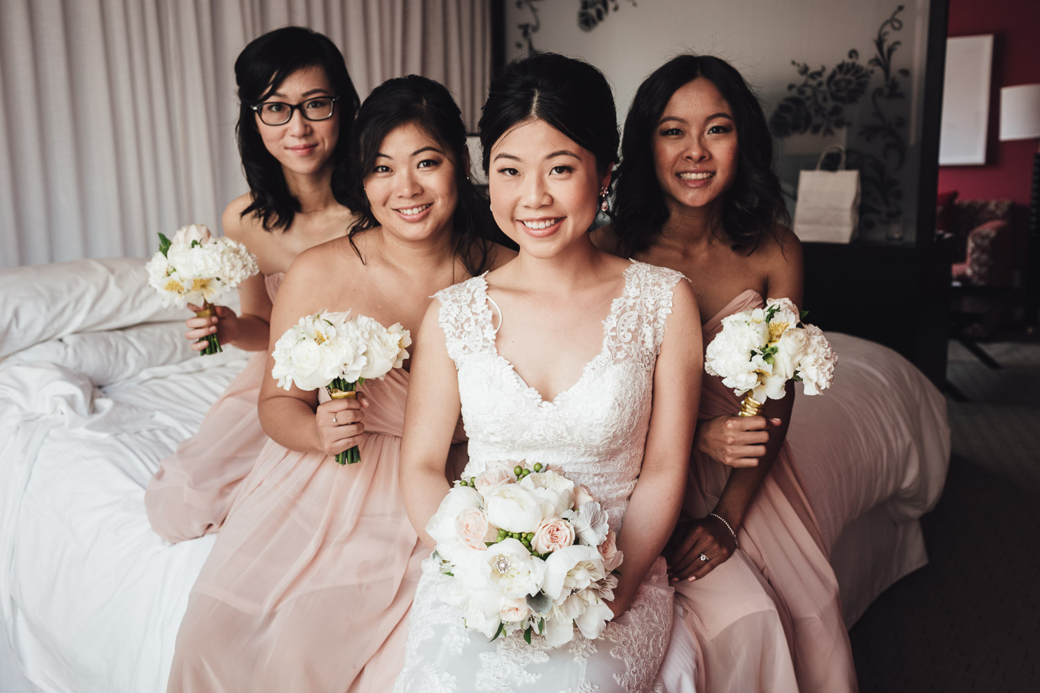 bride and bridesmaids in opus hotel in vancouver bc wedding photography
