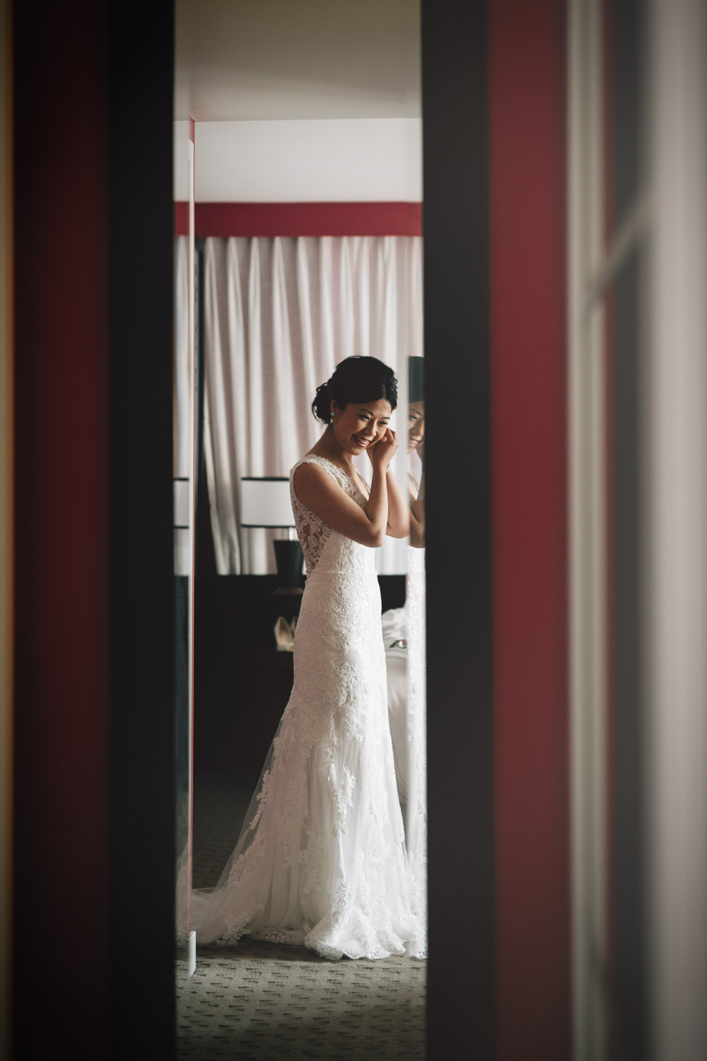 bride candid at opus hotel in yaletown for wedding