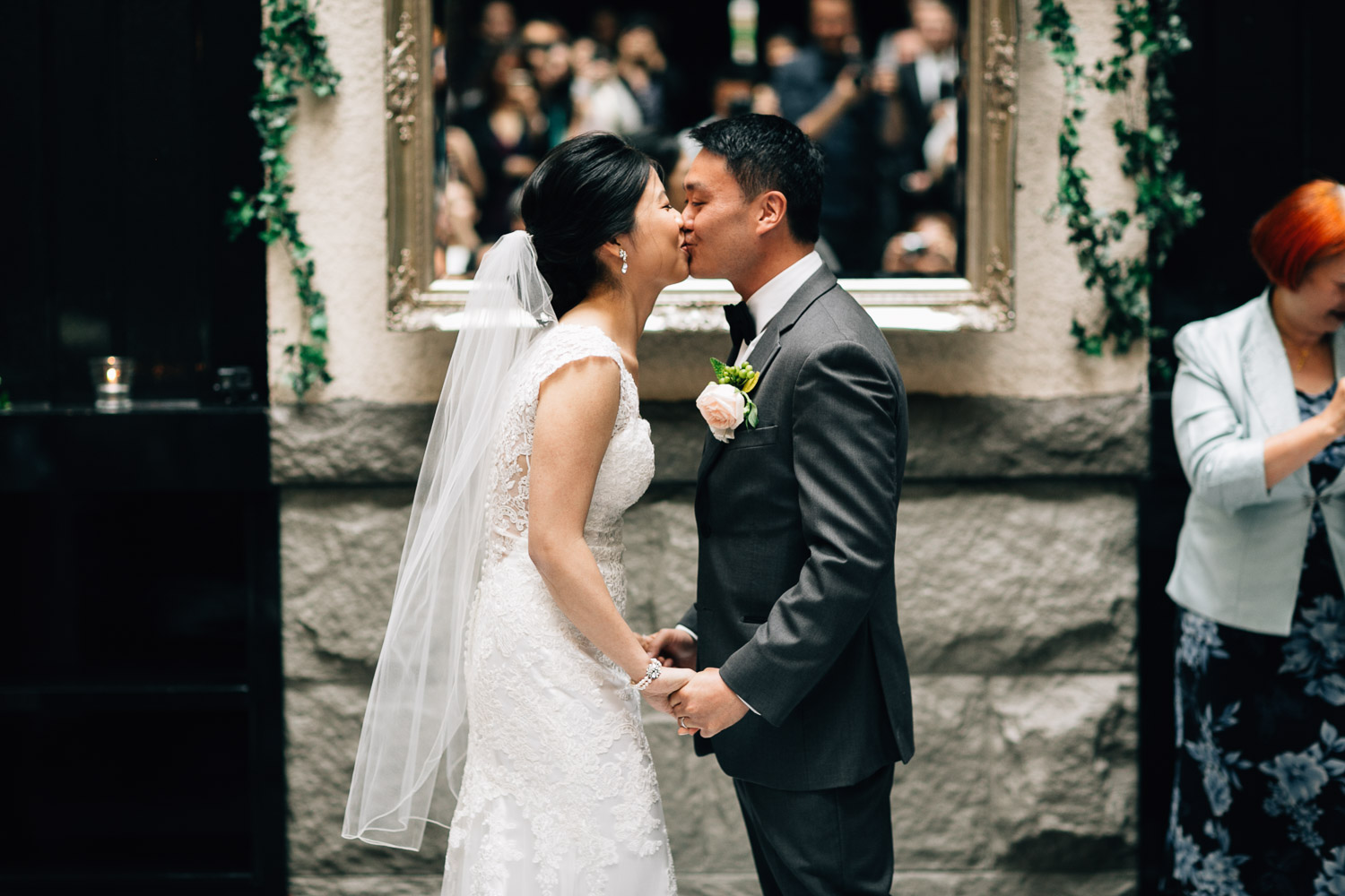 brix and mortar wedding ceremony first kiss in yaletown vancouver bc photography