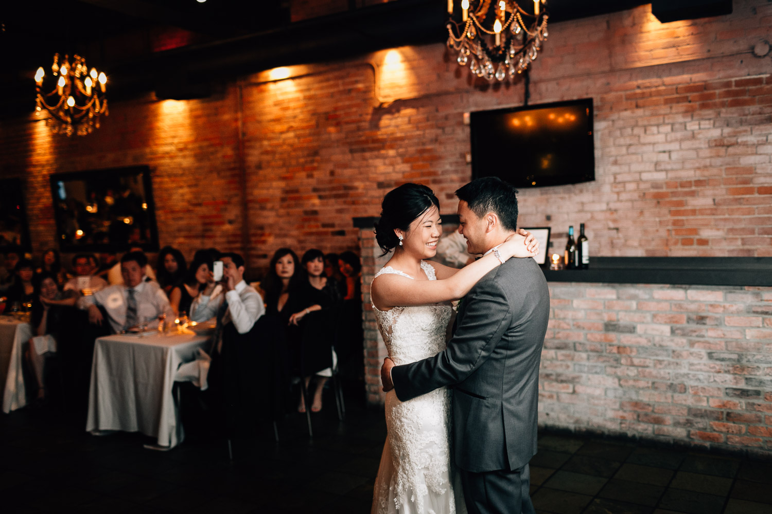 first dance at brix and mortar wedding reception in vancouver bc