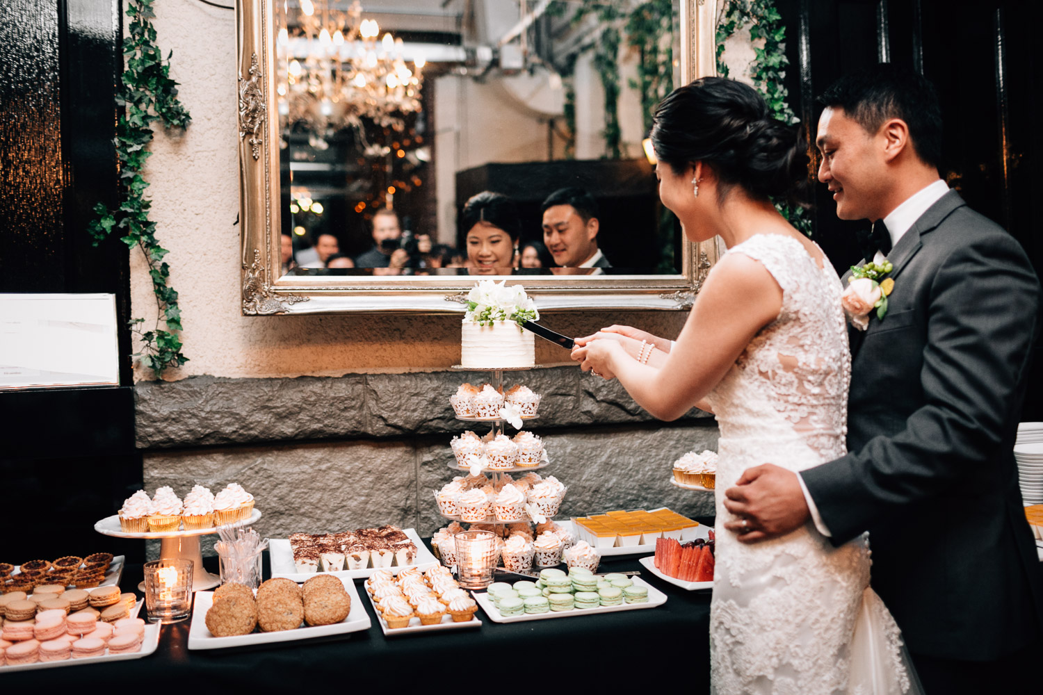 cake cutting and brix and mortar wedding reception vancouver bc