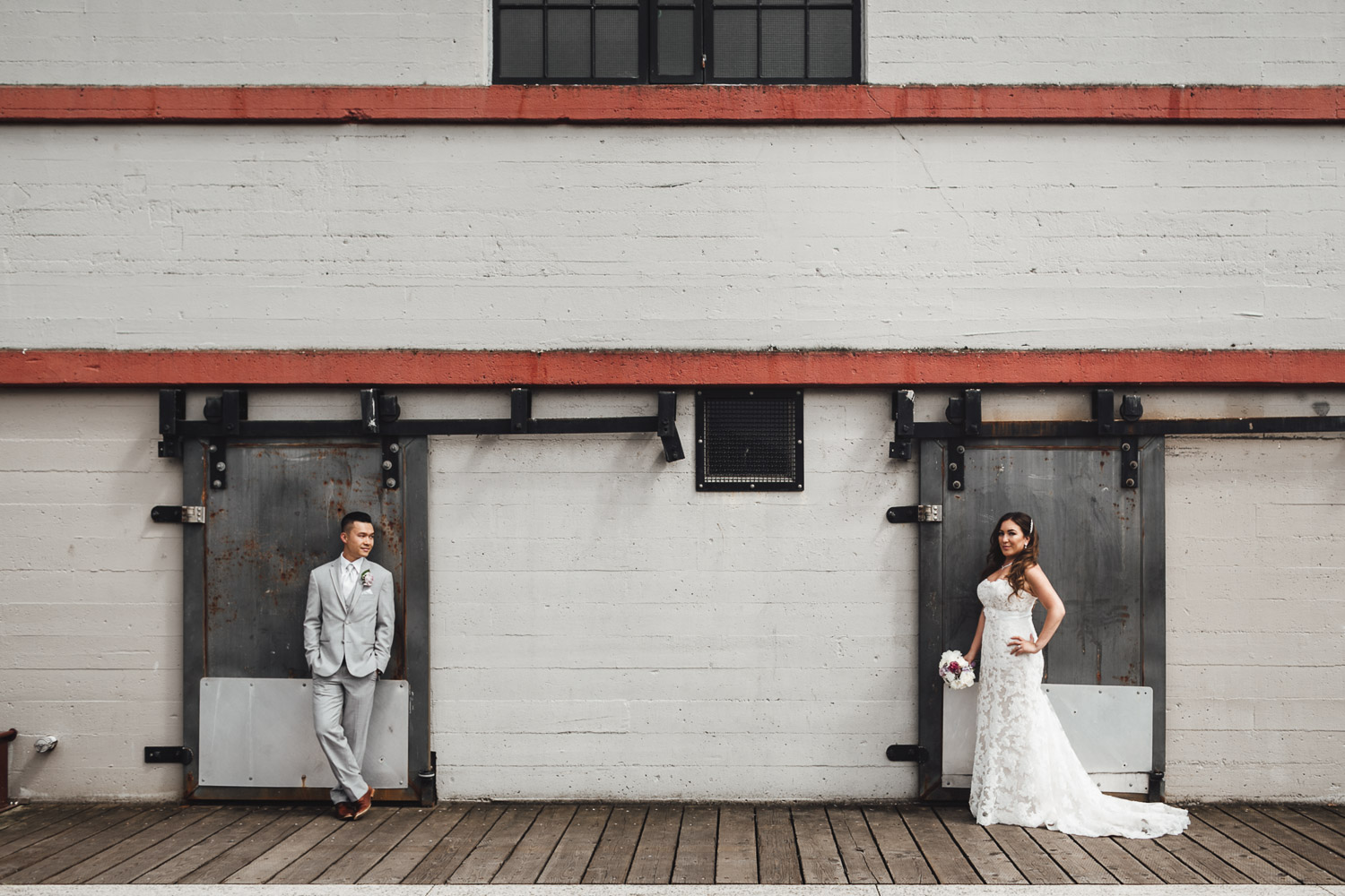 Londsdale pier in north vancouver wedding photography bride and groom