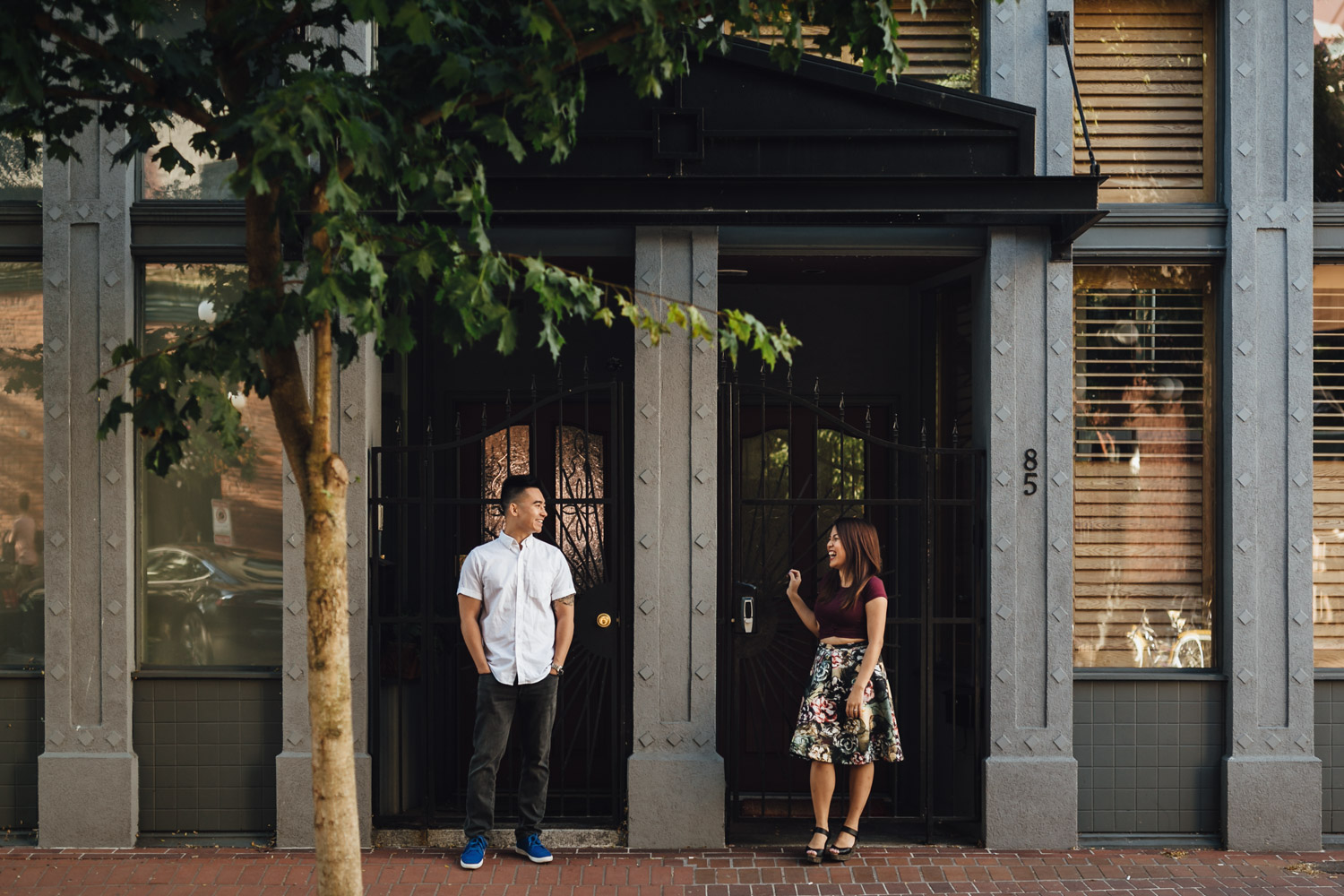 gastown engagement photography during summer in vancouver bc