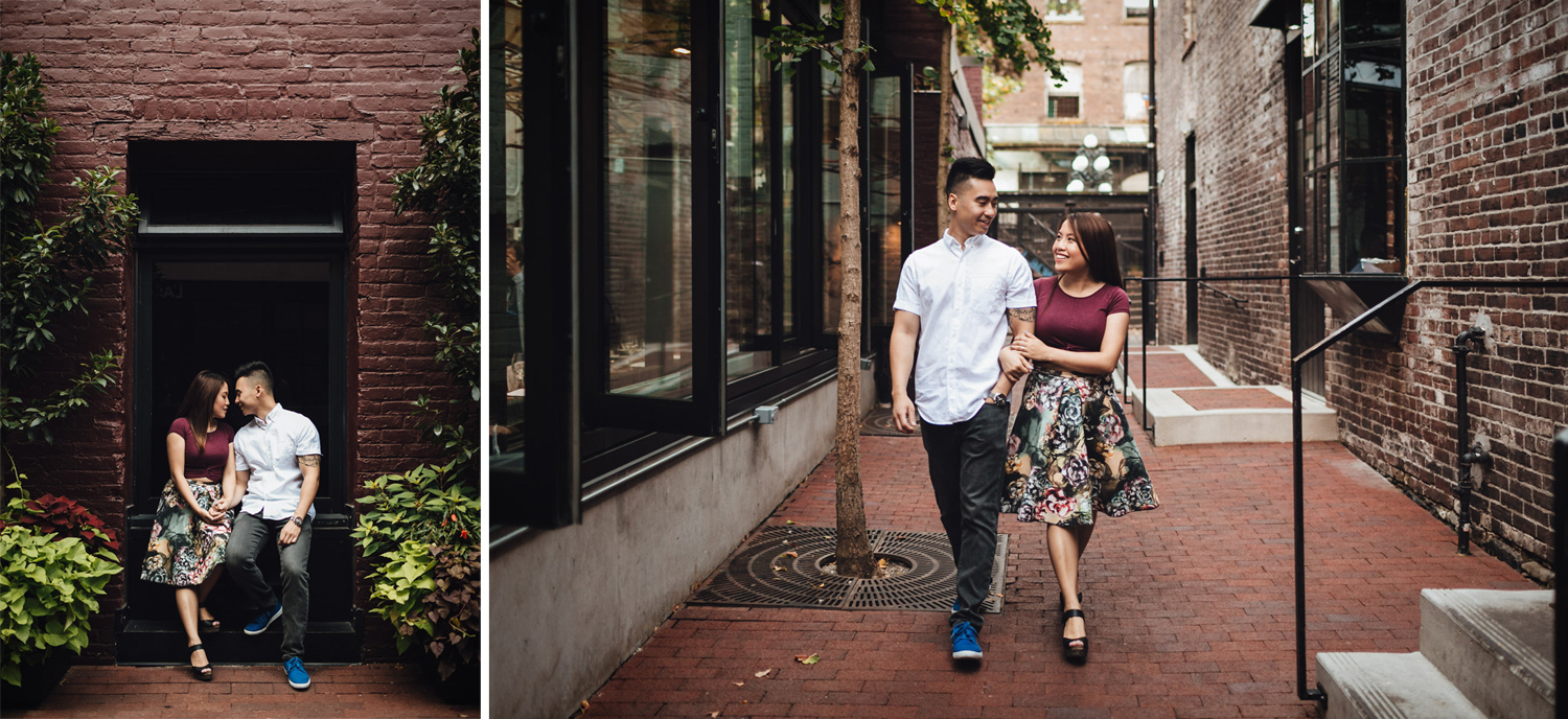 maggie lin and jamie yuen engagement photography in gastown vancouver bc