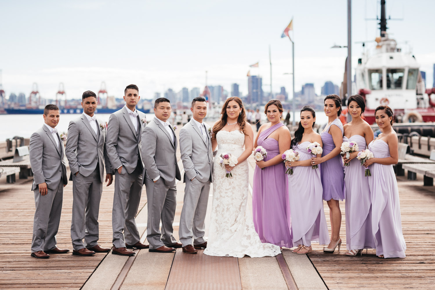 Burrard Dry Dock wedding photography portraits bridal party in North Vancouver BC
