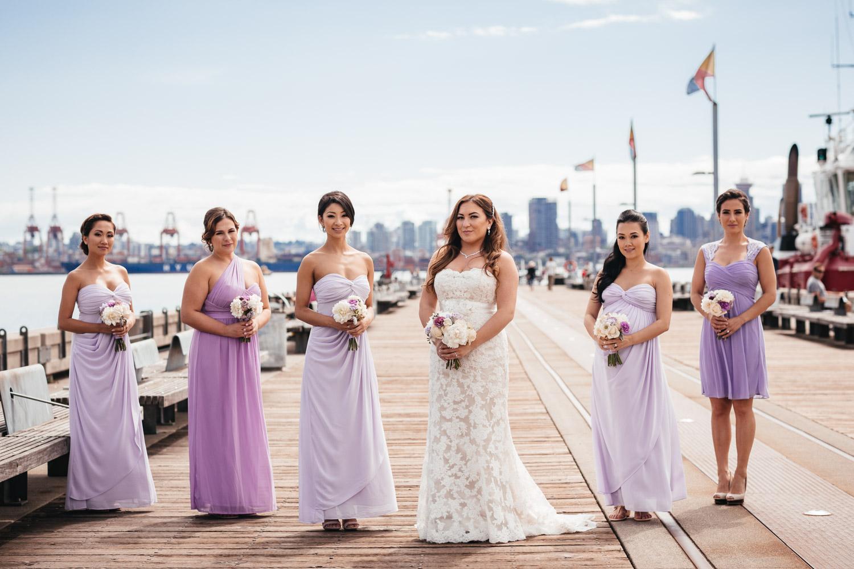 Bridesmaids in North Vancouver wedding portraits at Burrard dry dock