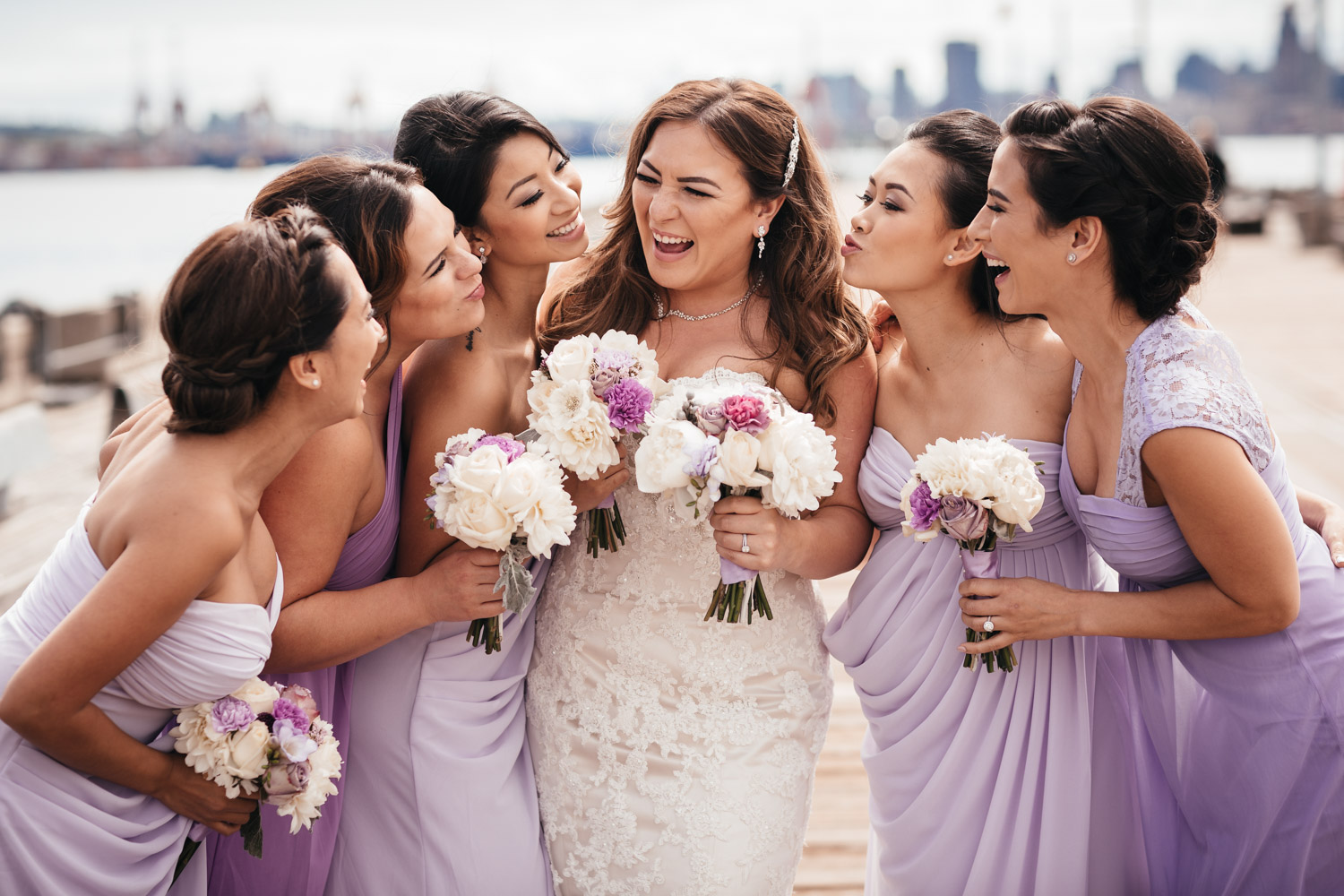 bridesmaids laughing candid in North Vancouver wedding photography