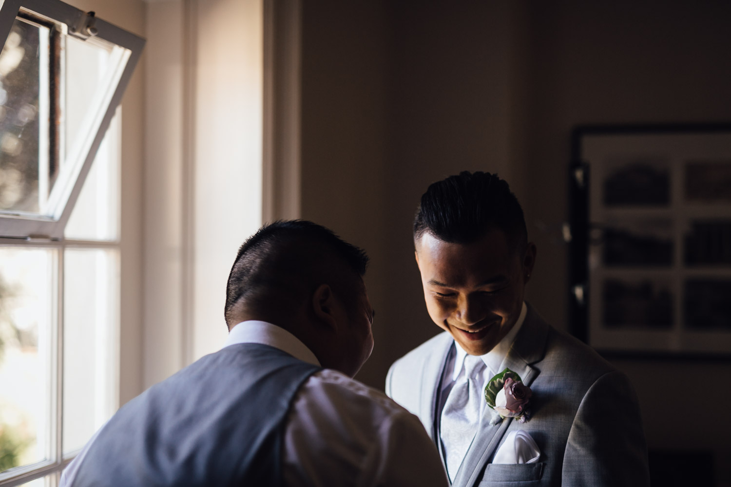 groom and best man moment at hycroft vancouver wedding