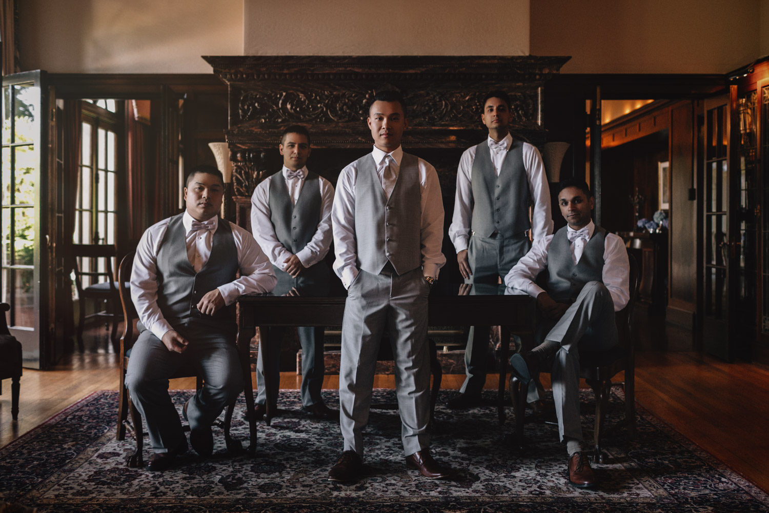 groom and groomsmen portrait at hycroft vancouver bc wedding