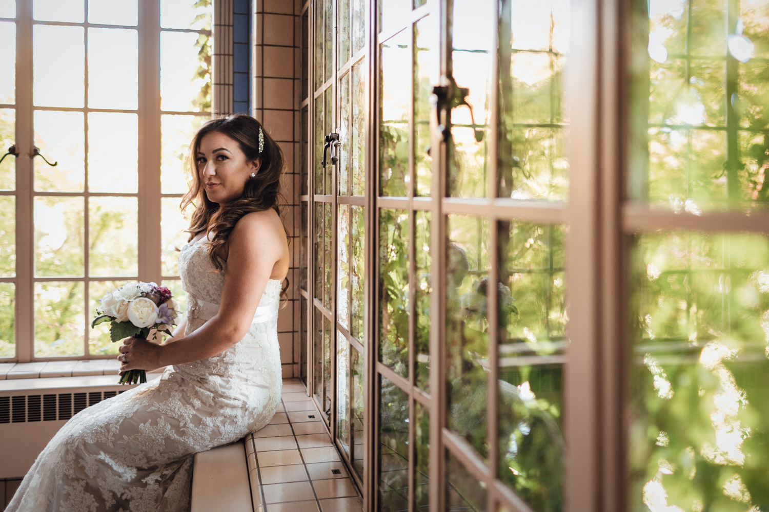bride at hycroft for wedding photography in vancouver bc
