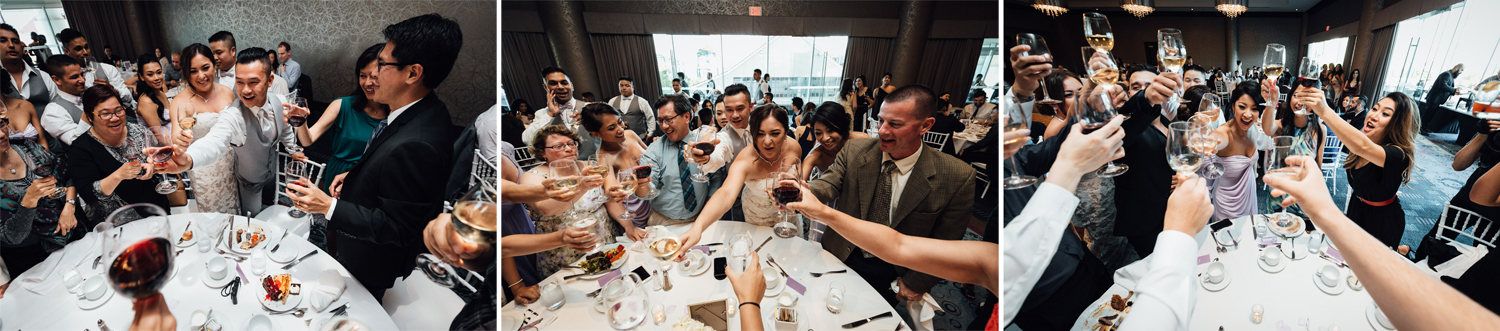table toasting north vancouver wedding photography reception pinnacle at the pier