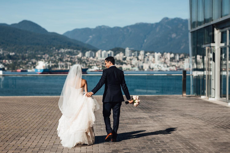 vancouver convention centre coal harbour wedding portraits candid