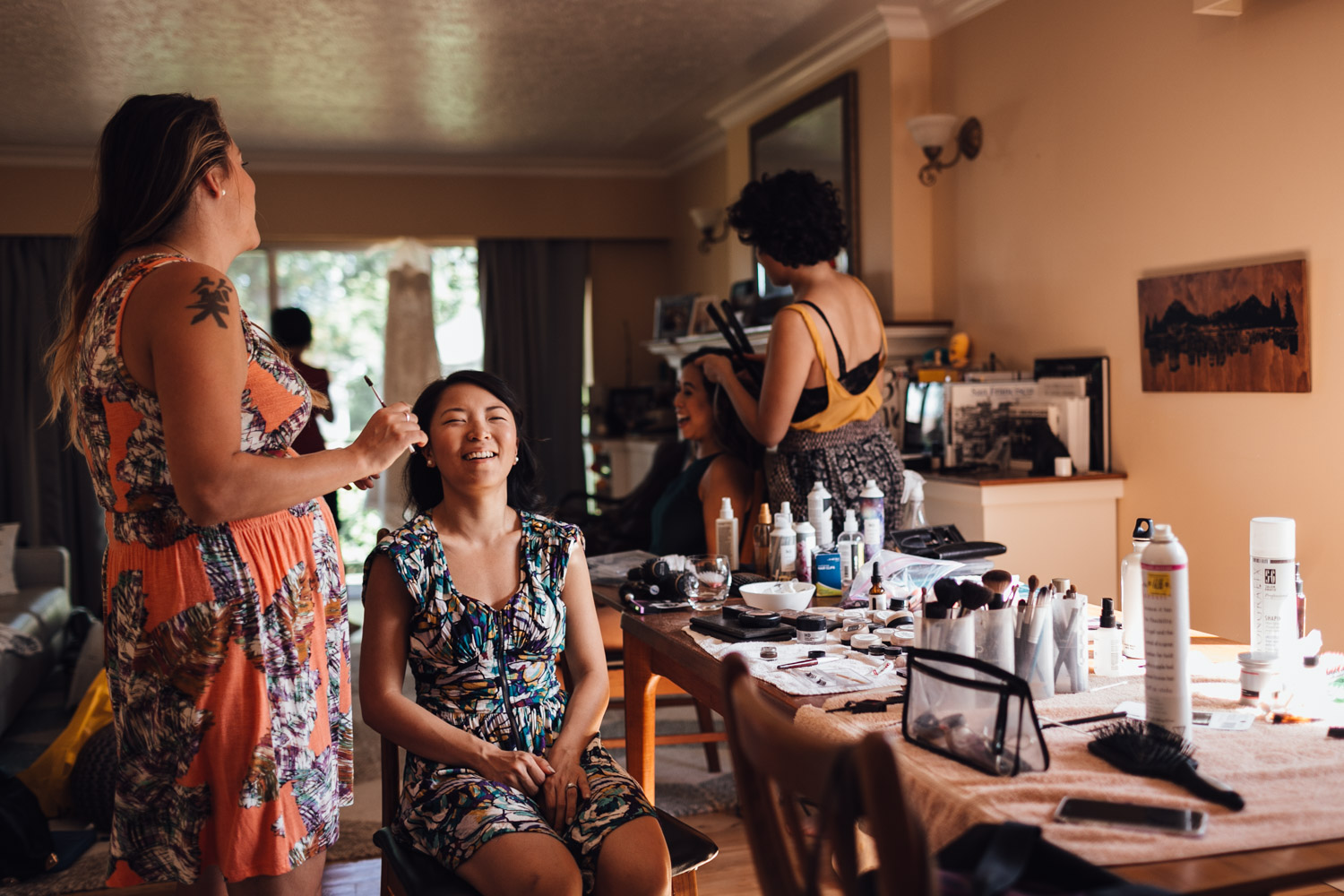 bridesmaids makeup wedding getting ready in vancouver bc