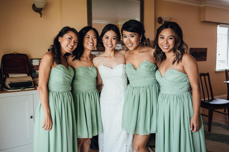 bride and bridesmaids portrait vancouver wedding photography