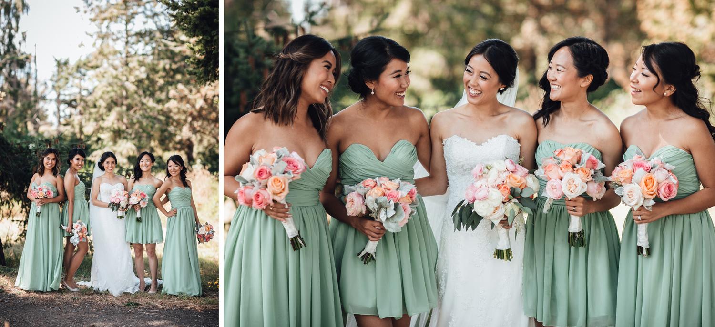 bride and bridesmaids portrait richmond wedding photography bc
